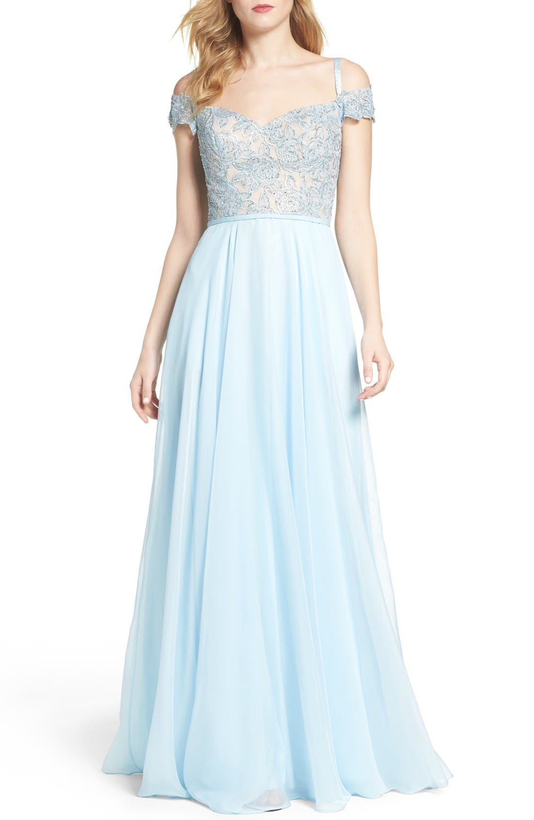La Femme Off the Shoulder Ballgown
