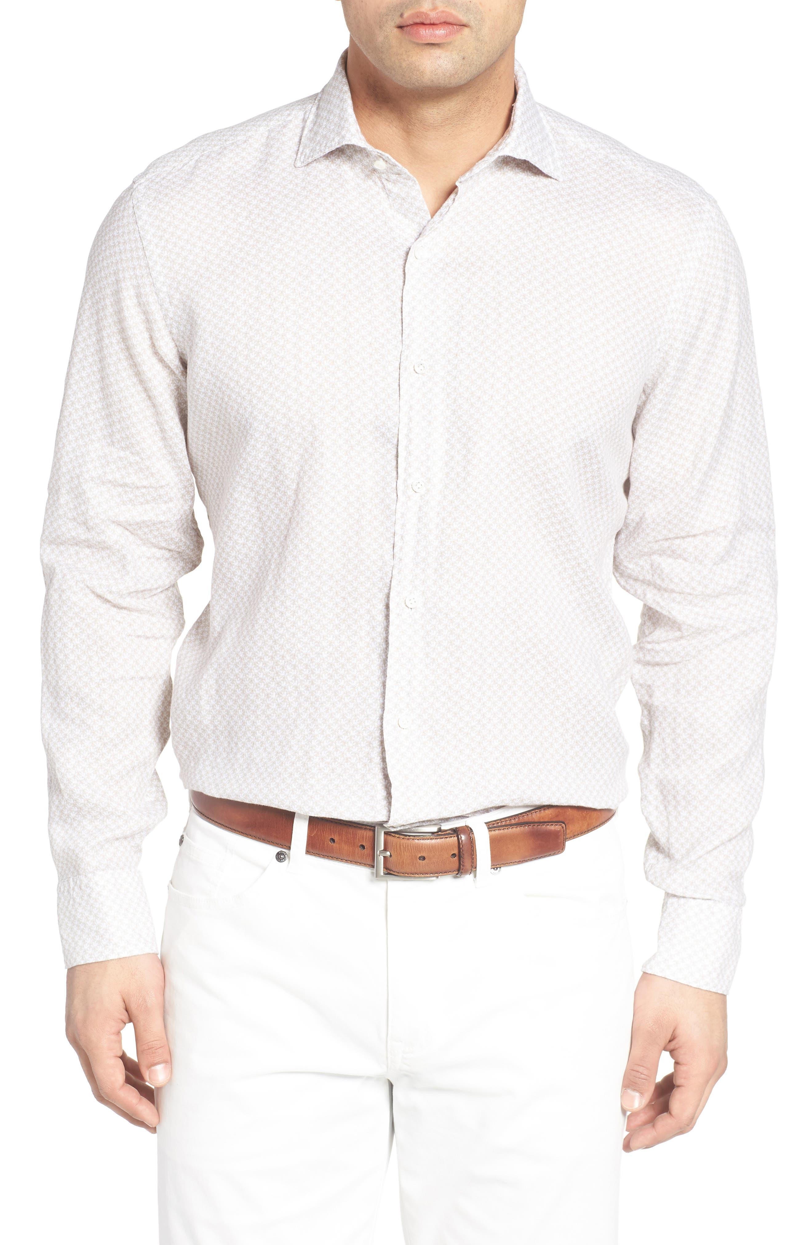 Peter Millar Saline Beach Print Linen Sport Shirt