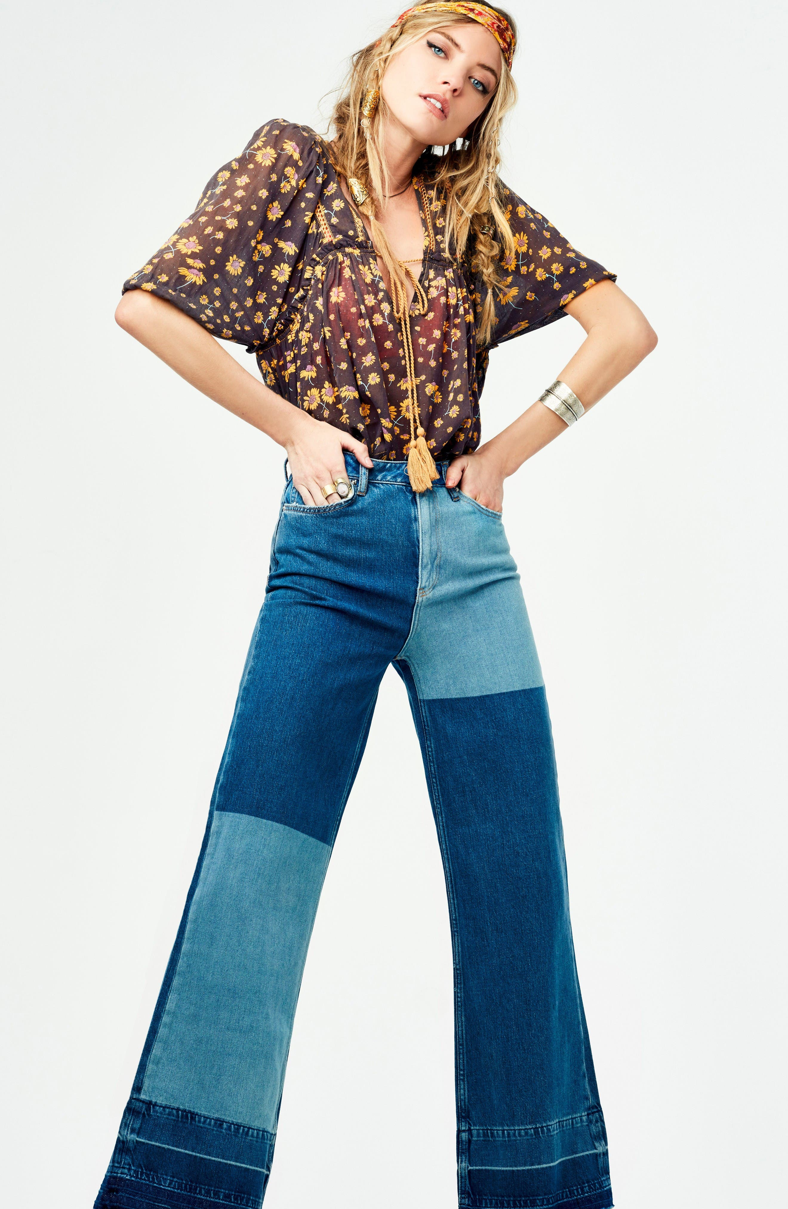 Alternate Image 2  - Free People The Wideleg High Waist Patchwork Jeans