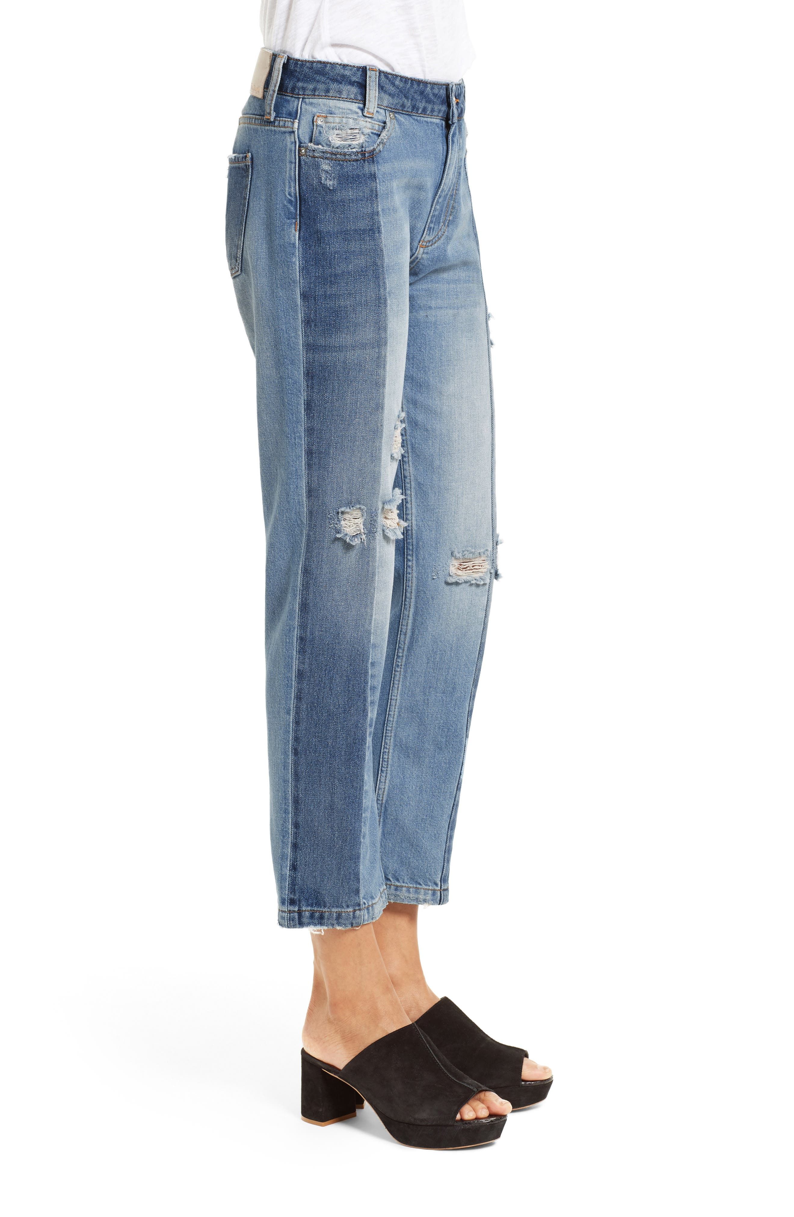Alternate Image 4  - Free People The Patchwork High Waist Crop Jeans