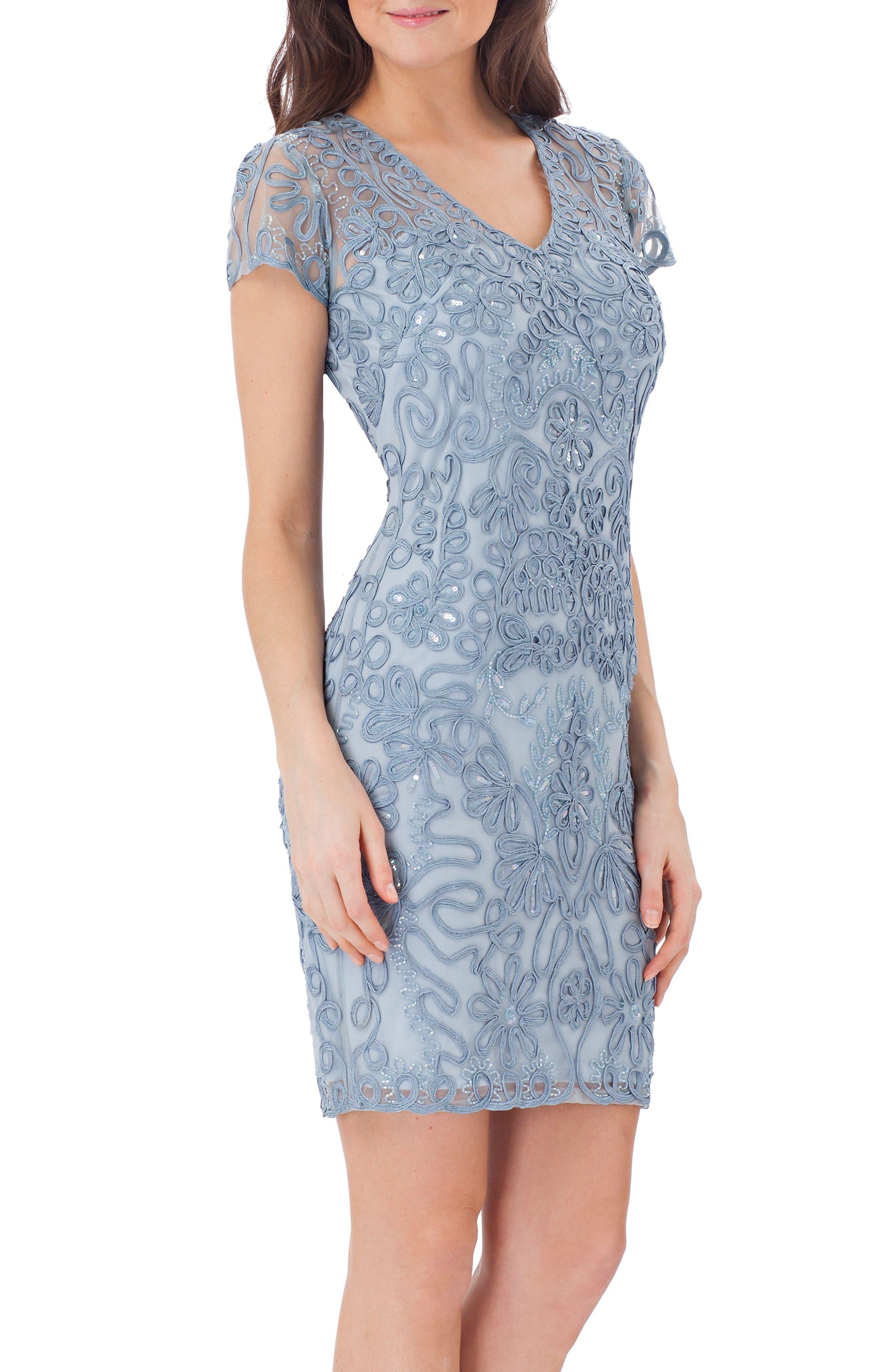JS Collections Embellished Soutache Sheath Dress
