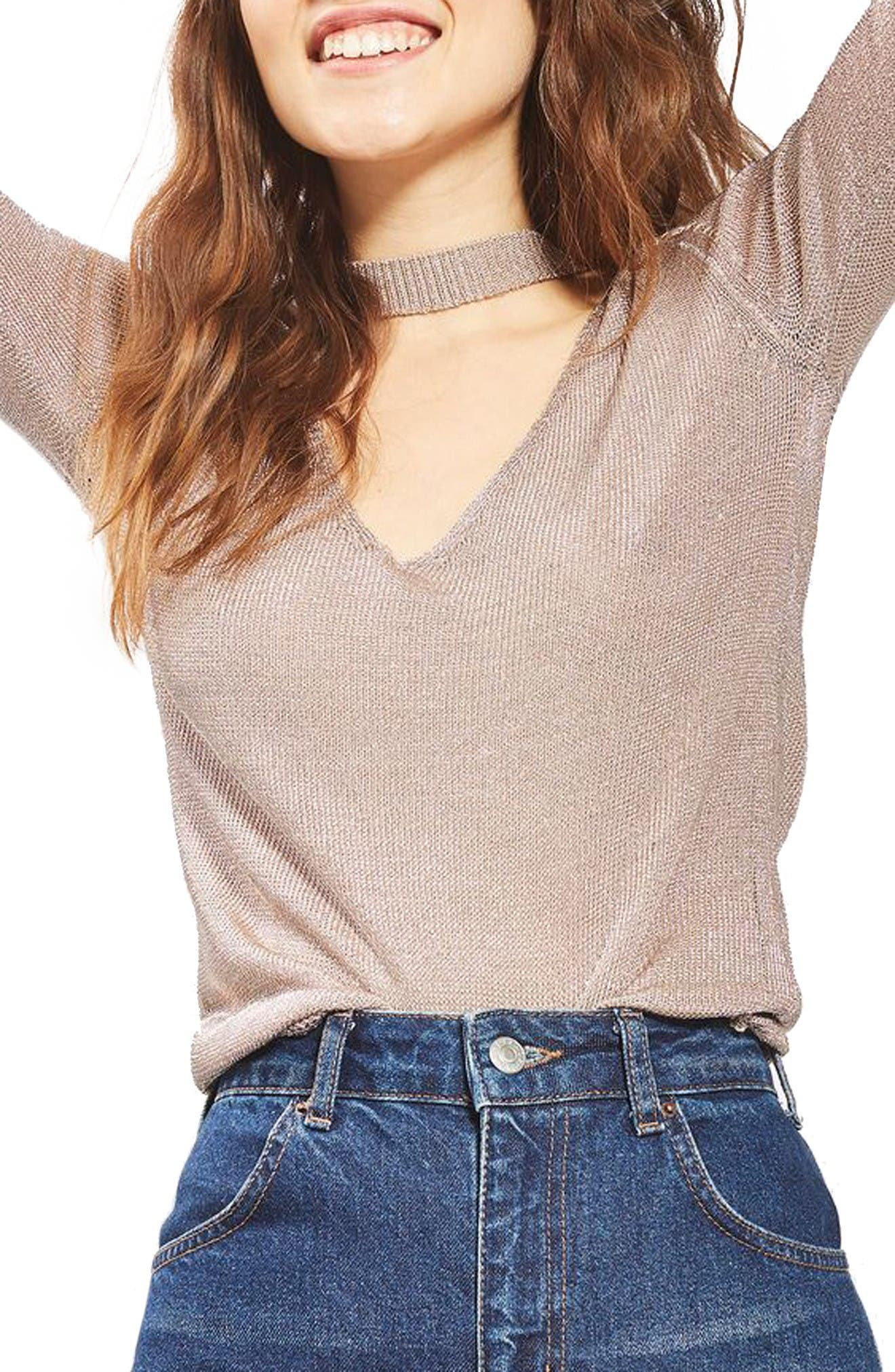 Main Image - Topshop Metallic Choker Top