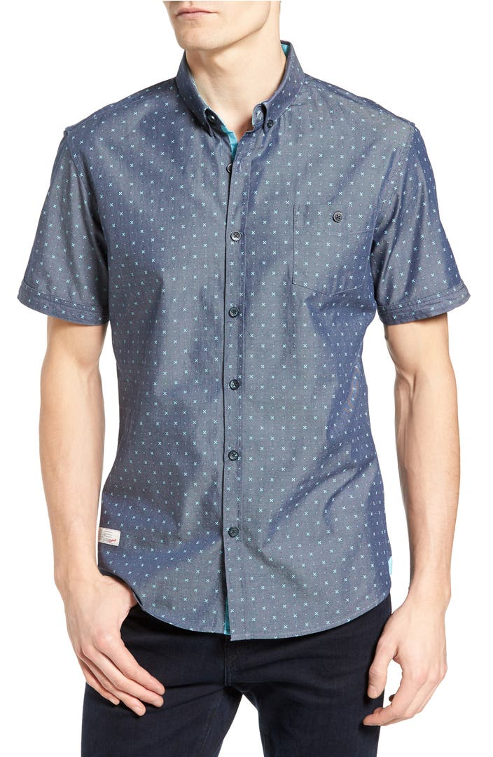 7 diamonds everlasting light print chambray shirt nordstrom for Chambray 7 s