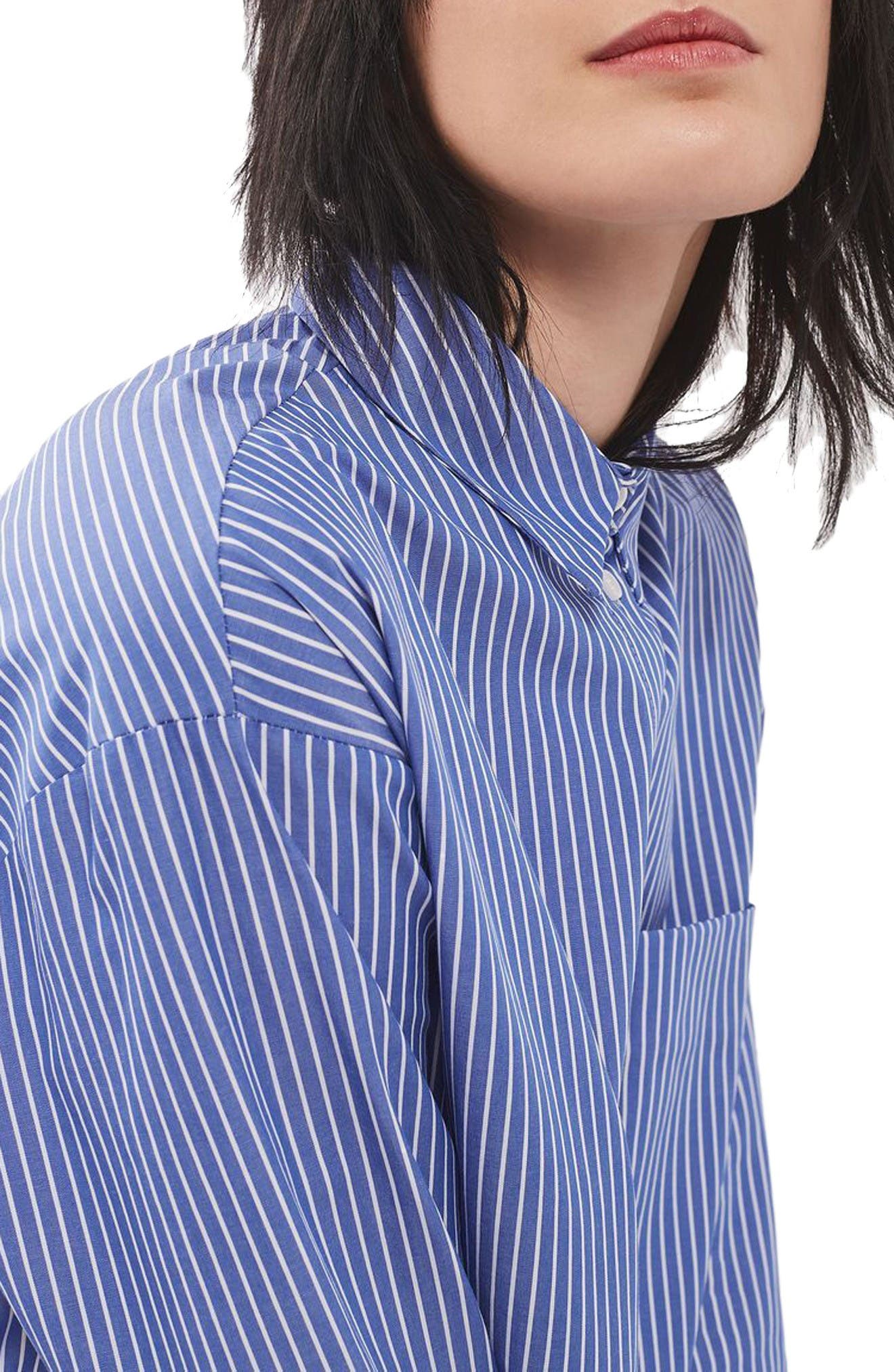 Alternate Image 5  - Topshop Deep Cuff Stripe Shirt
