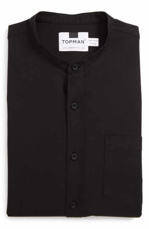 Topman Band Collar Shirt