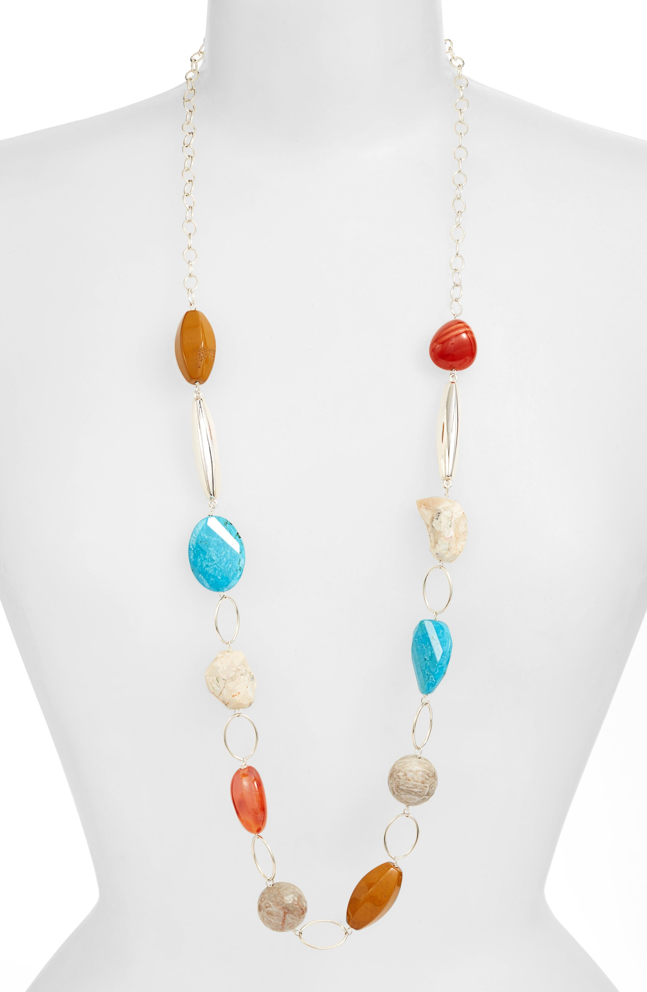 Simon Sebbag Mixed Stone Chain Necklace