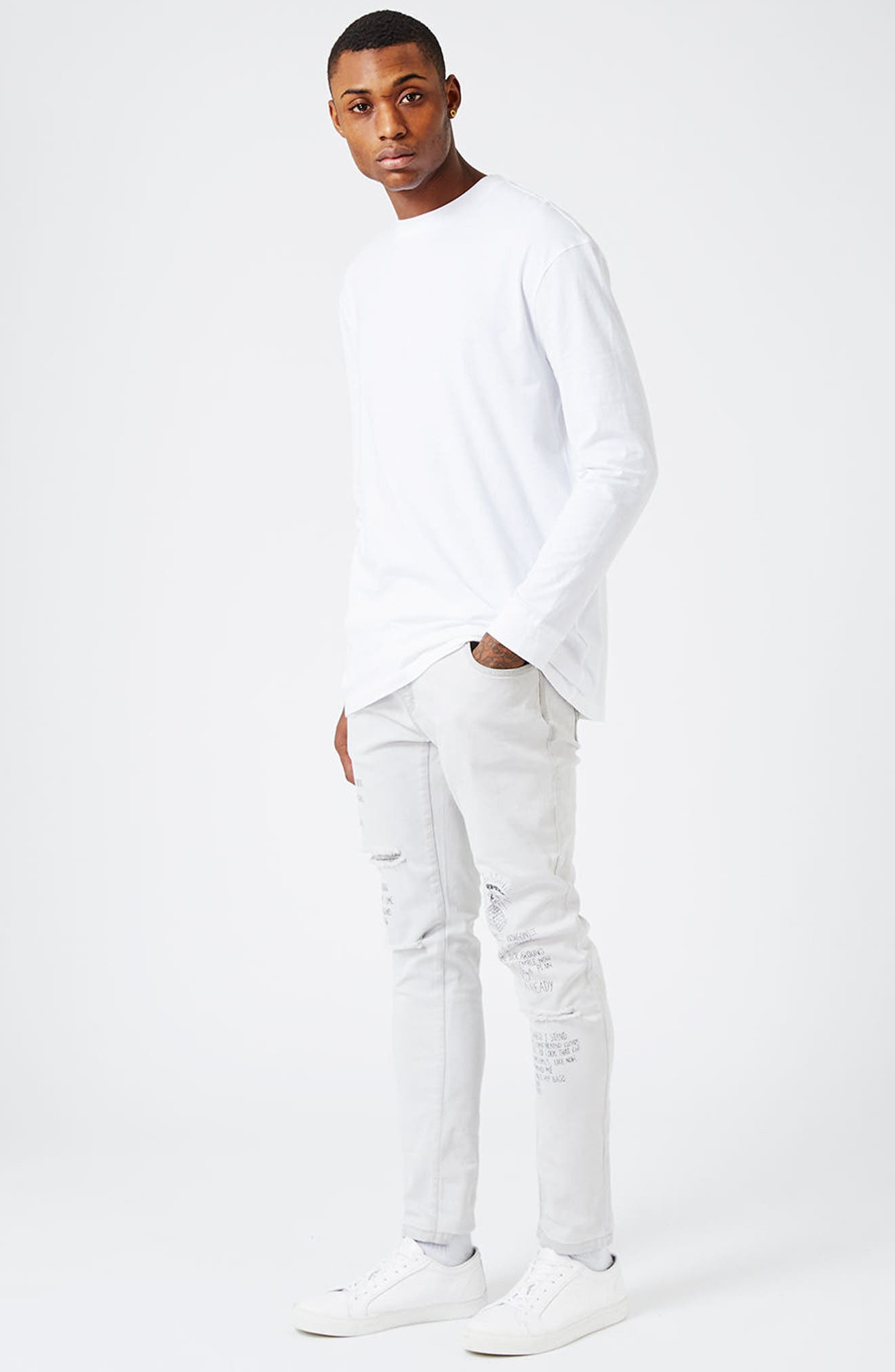 Alternate Image 2  - Topman AAA Collection Voices Print Skinny Fit Jeans