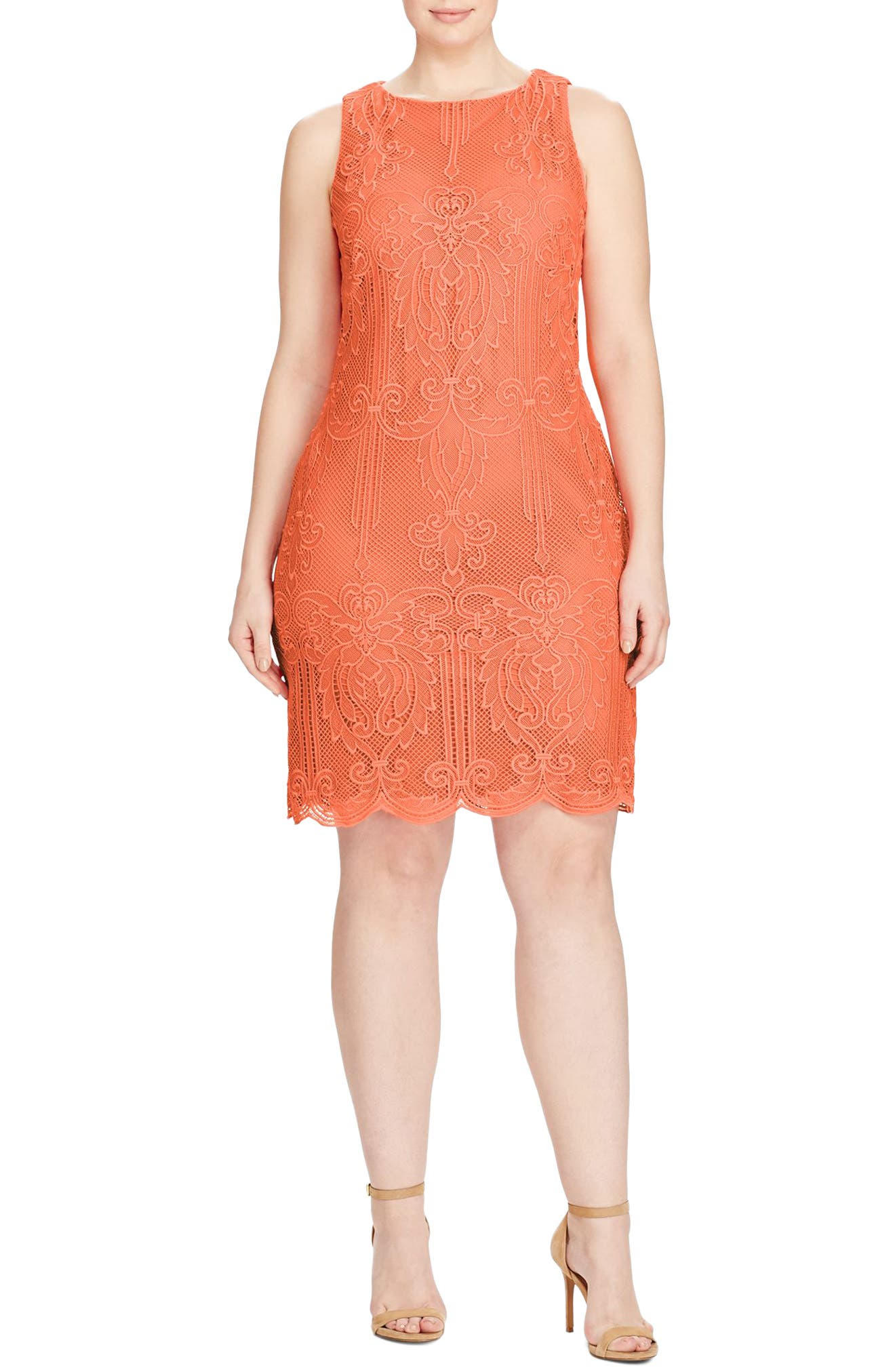 Lauren Ralph Lauren Lace Sheath Dress (Plus Size)