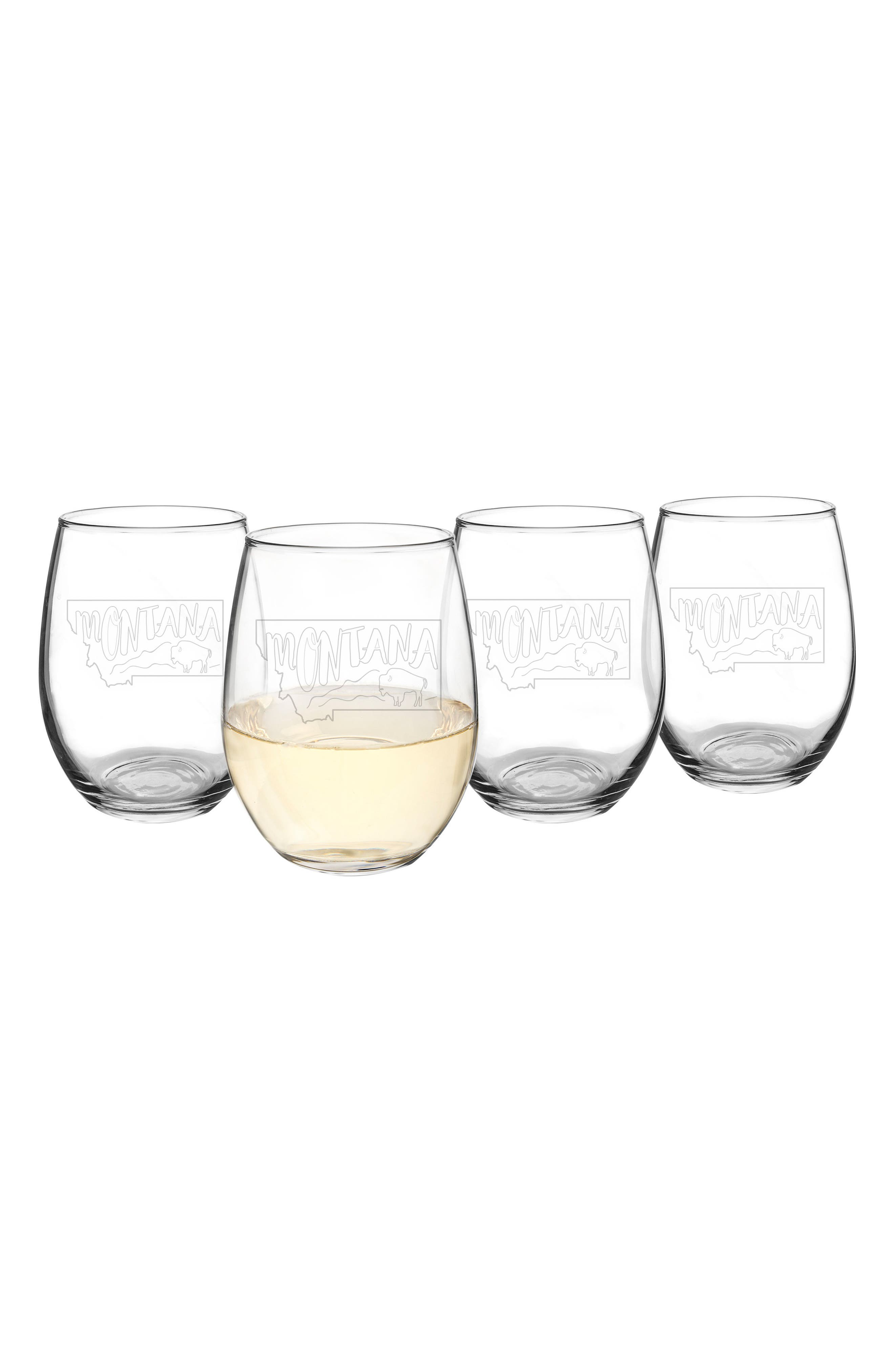 Cathy's Concepts State Set of 4 Stemless Wine Glasses