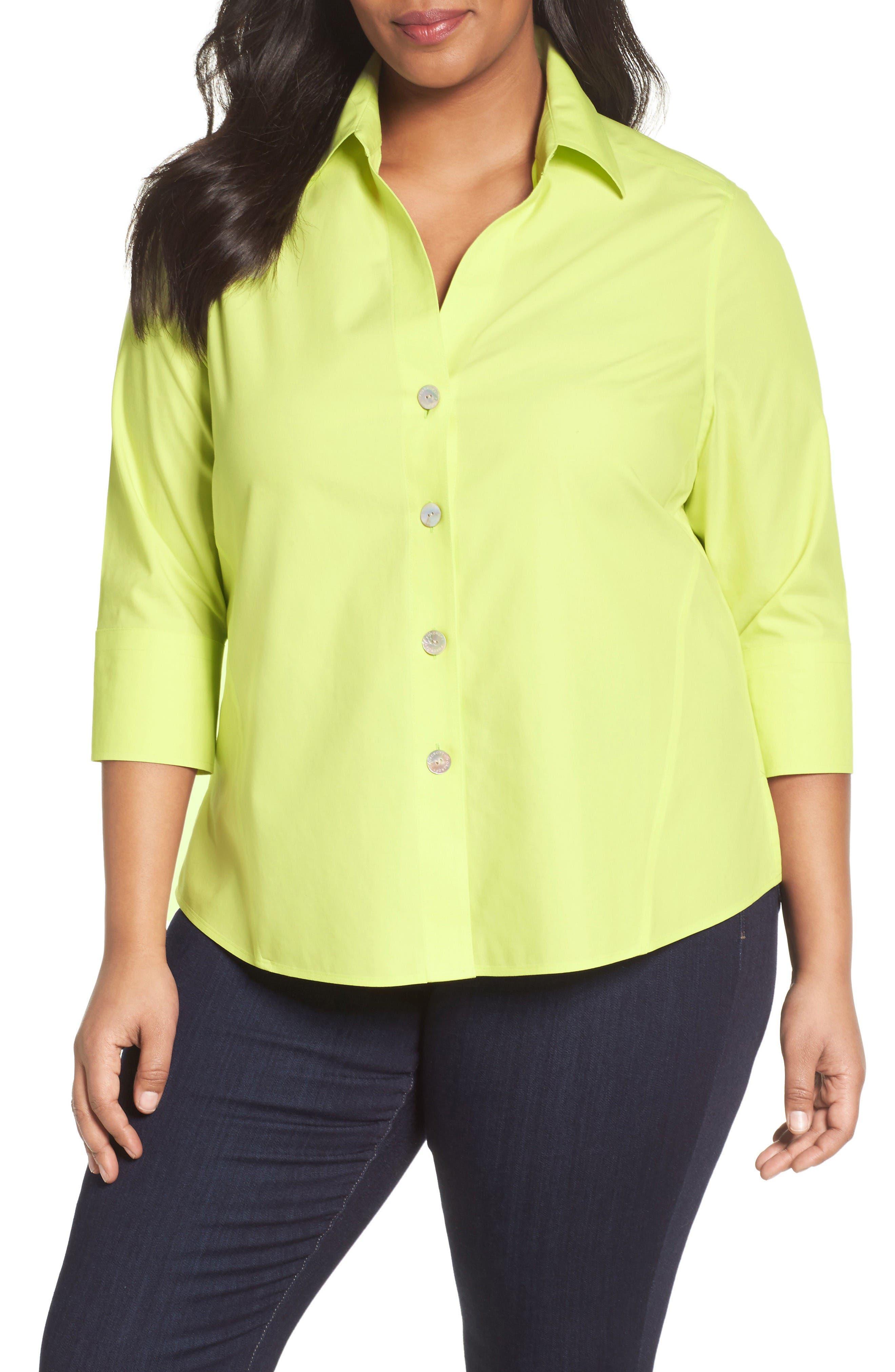 Foxcroft 'Paige' Non-Iron Cotton Shirt (Plus Size)