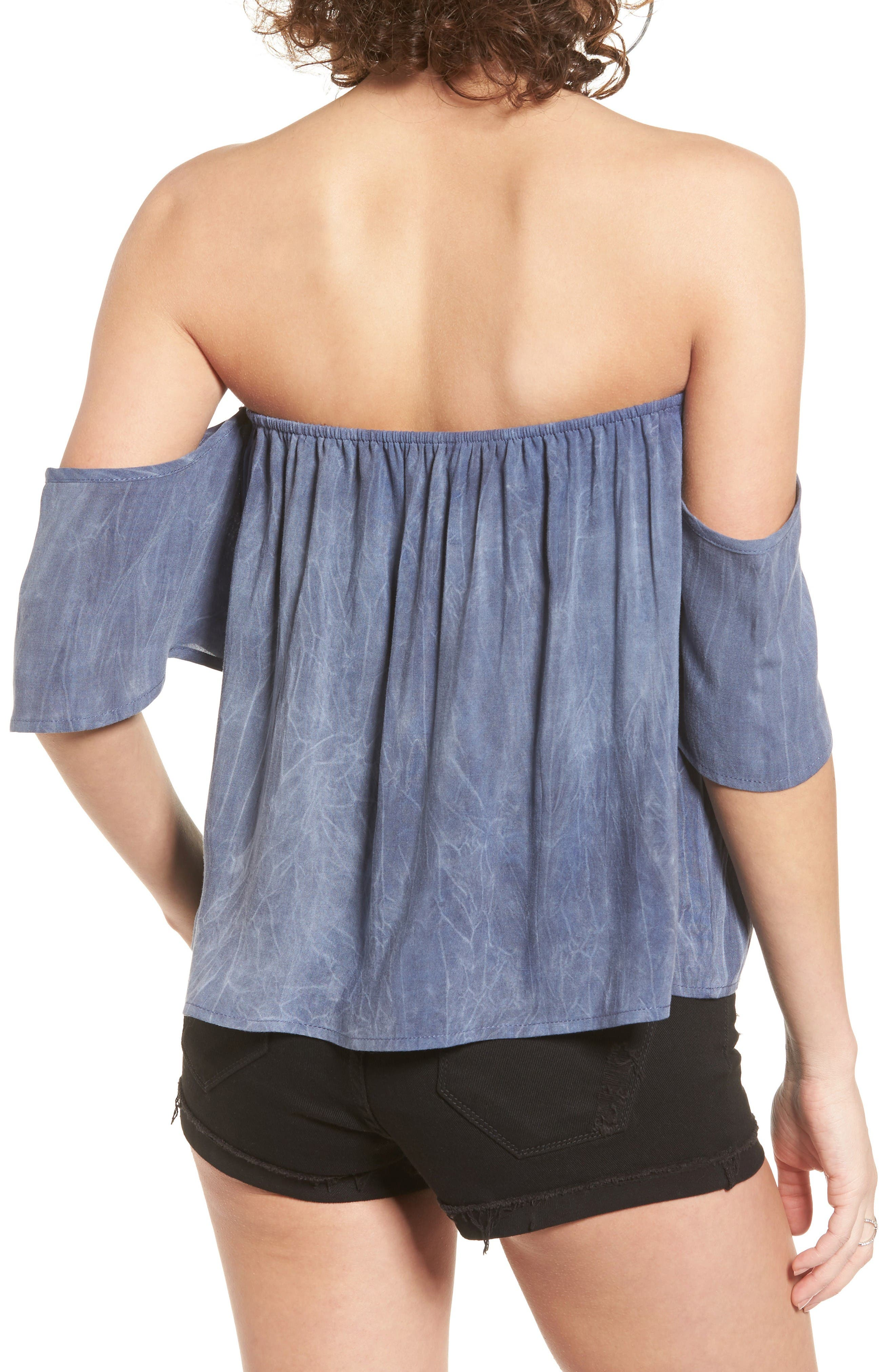 Alternate Image 2  - Sun & Shadow Off the Shoulder Washed Top