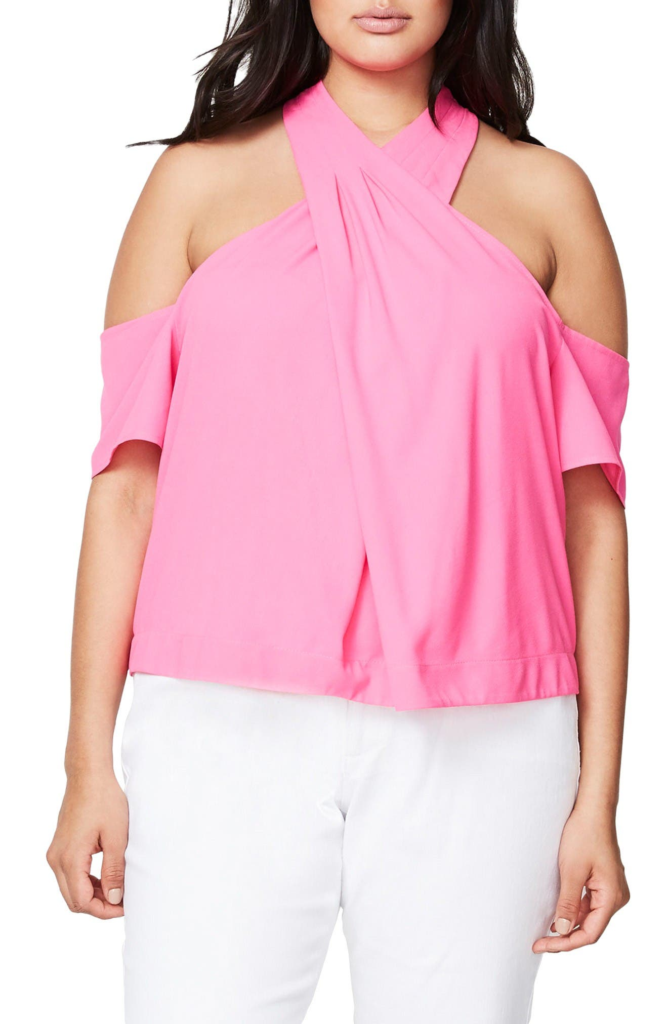 Rachel Roy Cold Shoulder Crisscross Top (Plus Size)