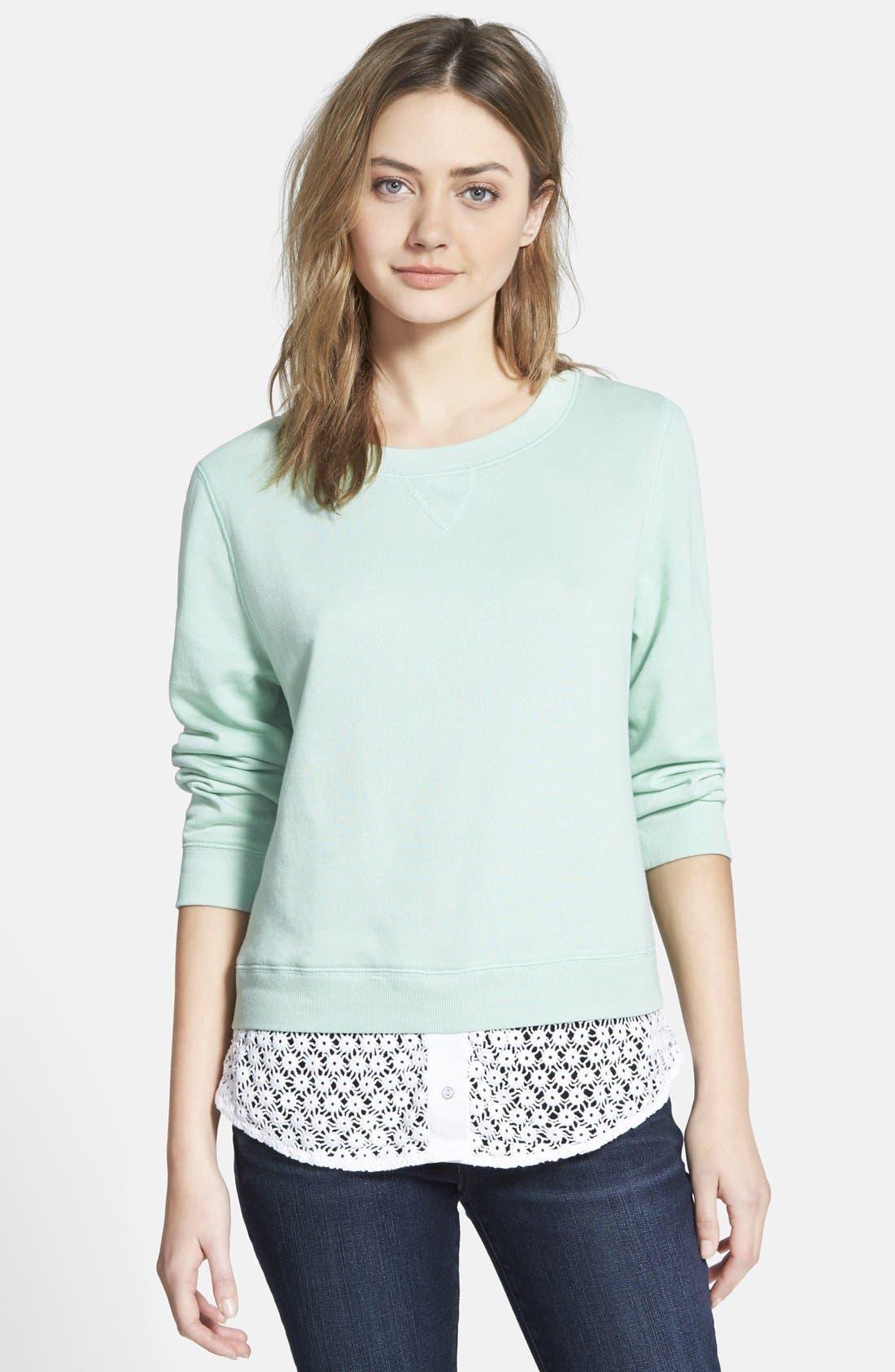 Alternate Image 1 Selected - Hinge Lace Trim Sweatshirt