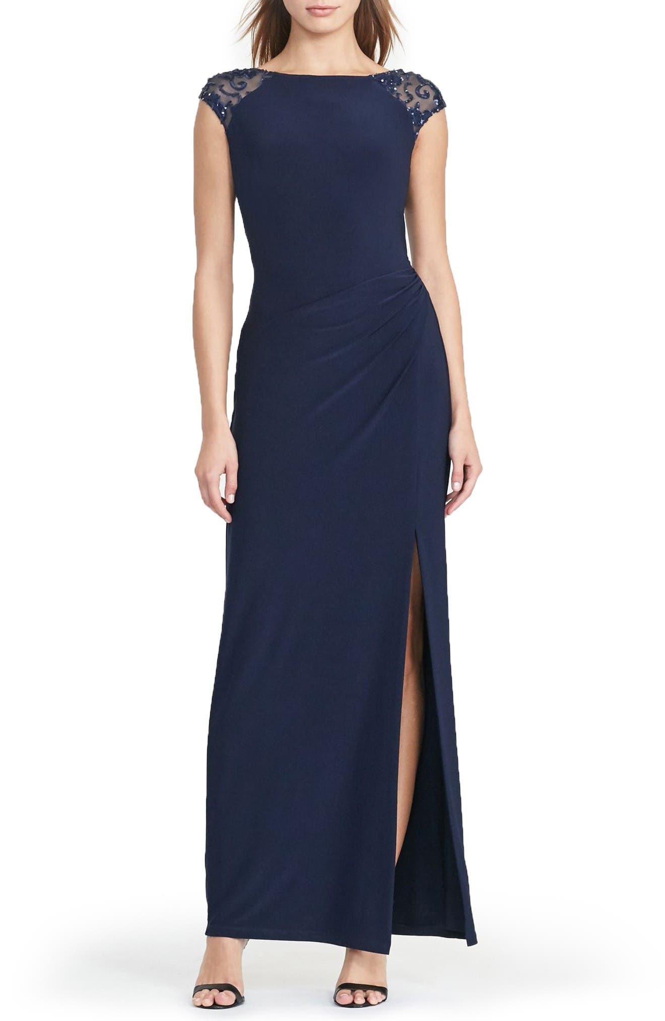 Lauren Ralph Lauren Embellished Draped Jersey Gown (Regular & Petite)