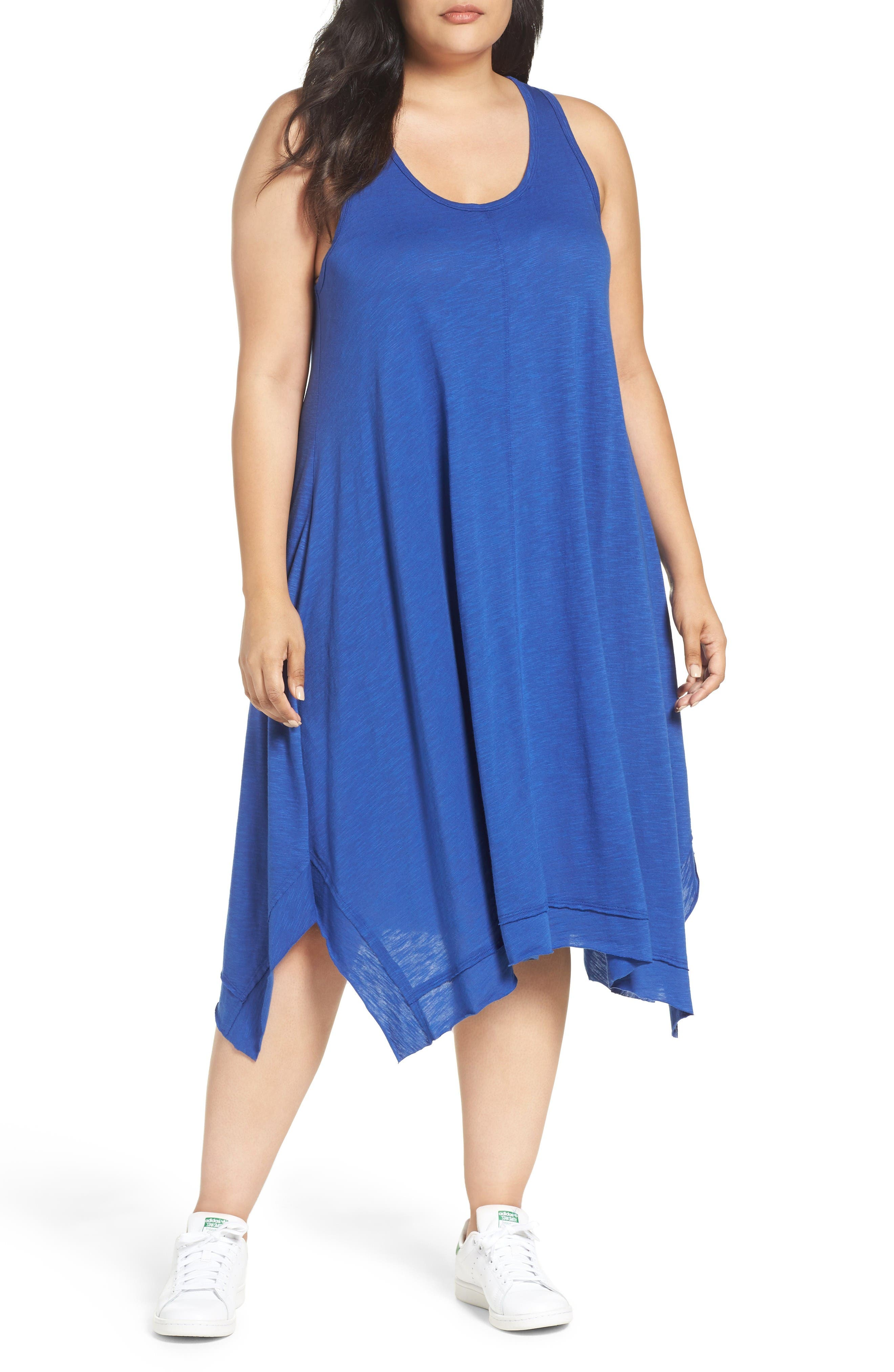 Caslon® Handkerchief Hem Slub Knit Tank Dress (Plus Size)