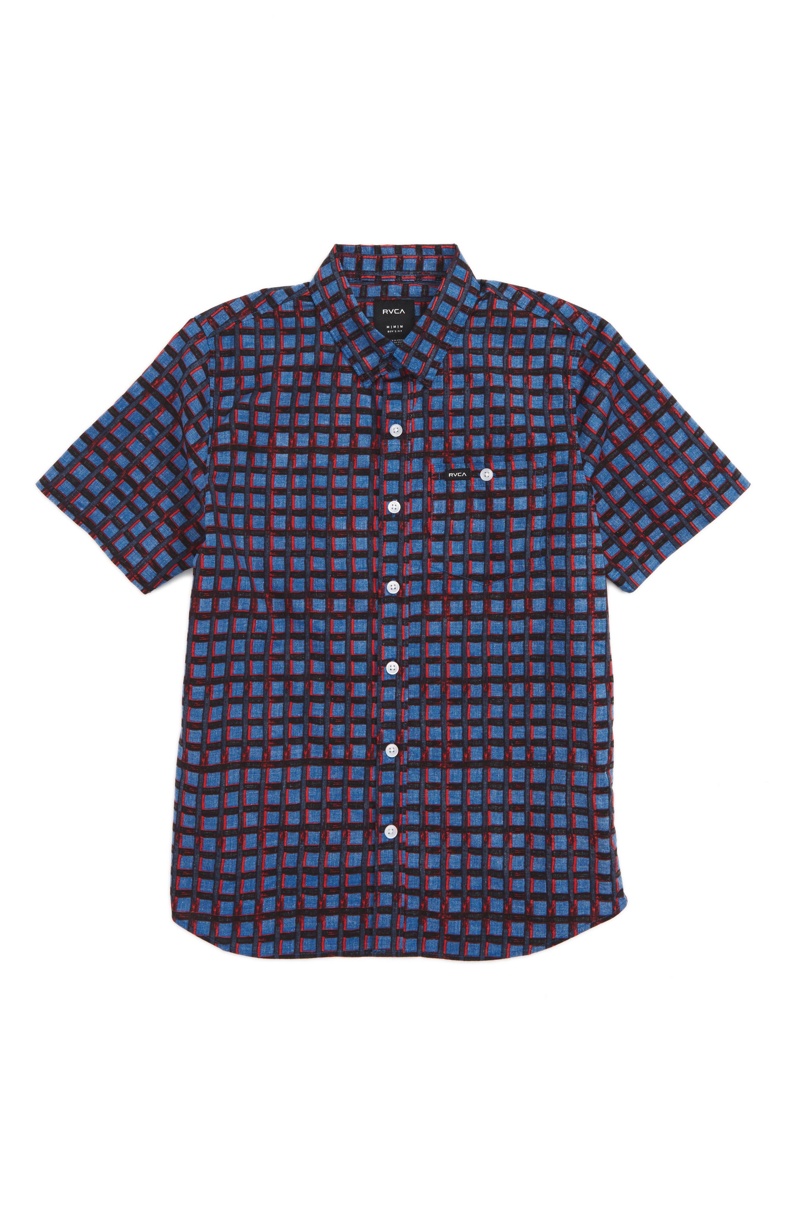 RVCA Shaded Short Sleeve Woven Shirt (Big Boys)
