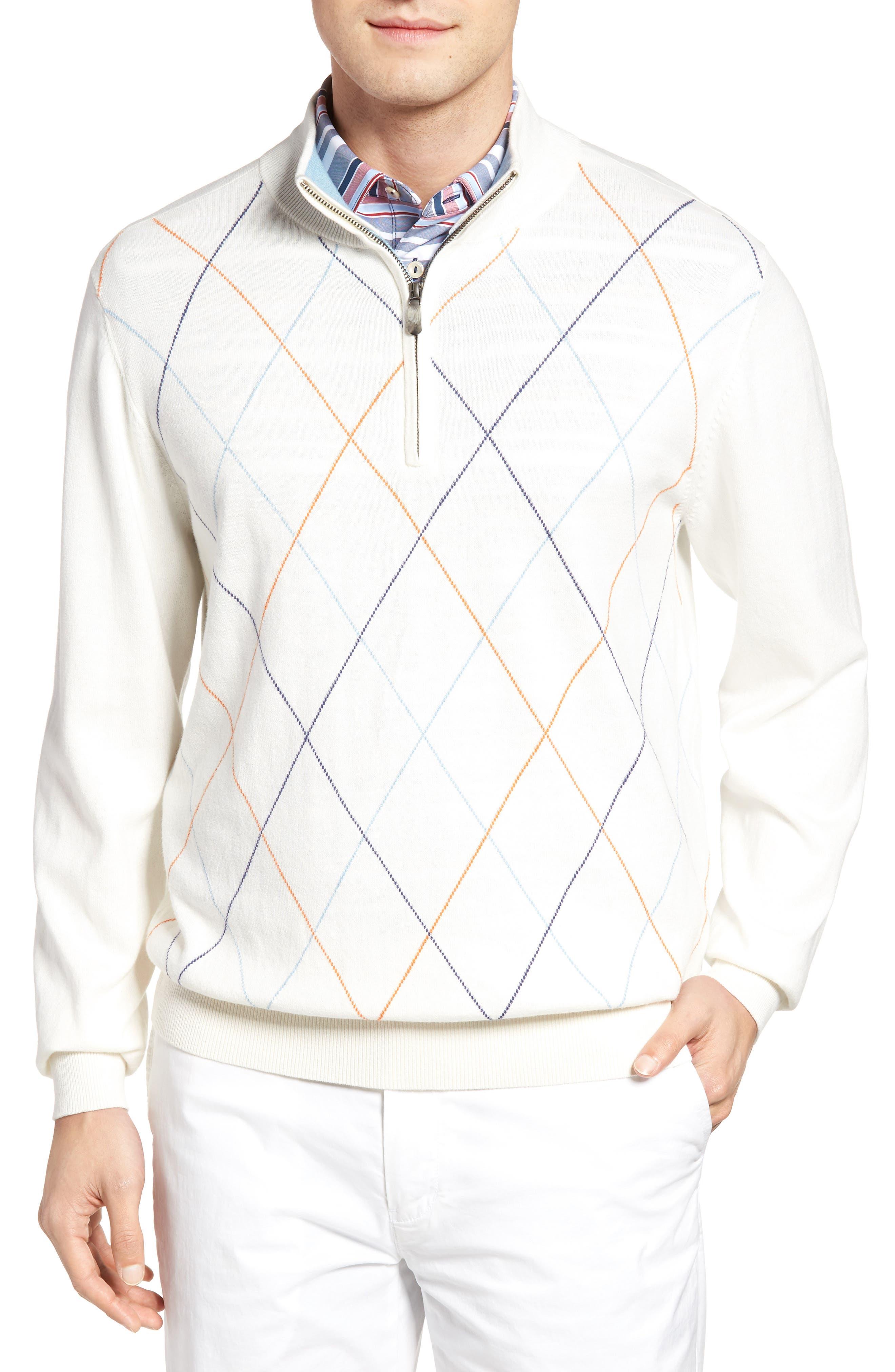Bobby Jones Argyle Quarter Zip Sweater