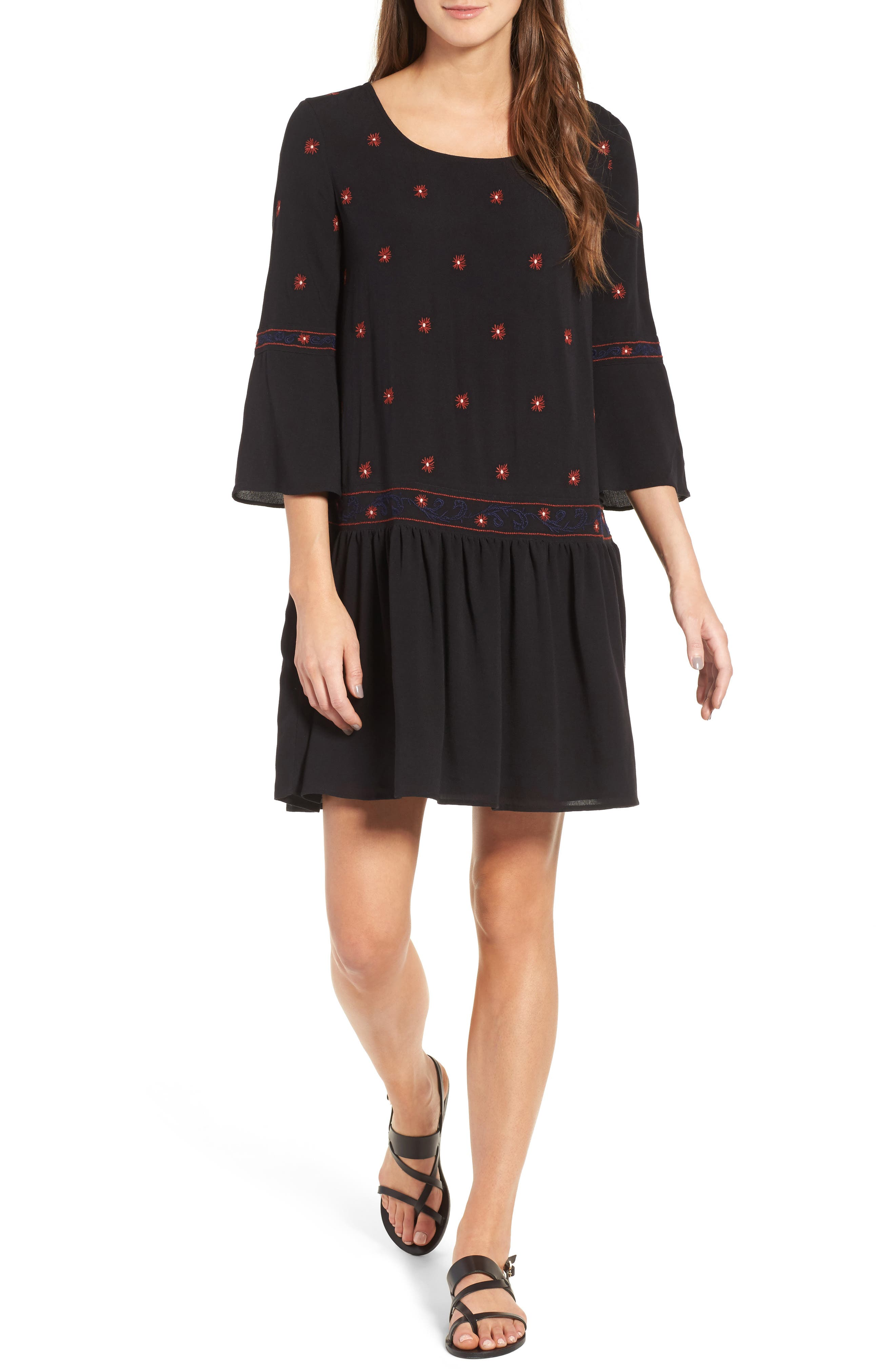 Hinge Embroidered Flare Sleeve Dress