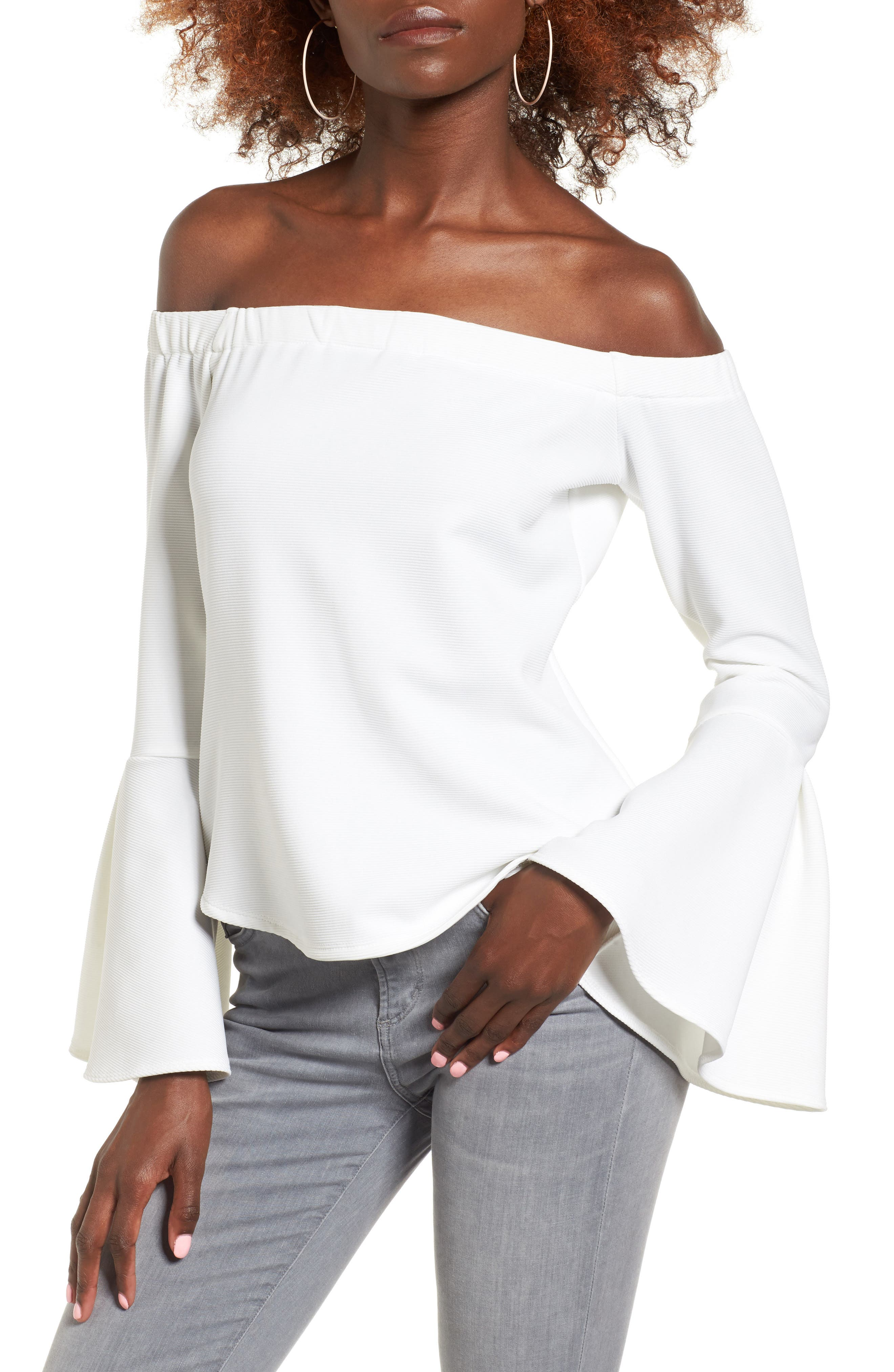 Leith Bell Sleeve Off the Shoulder Top