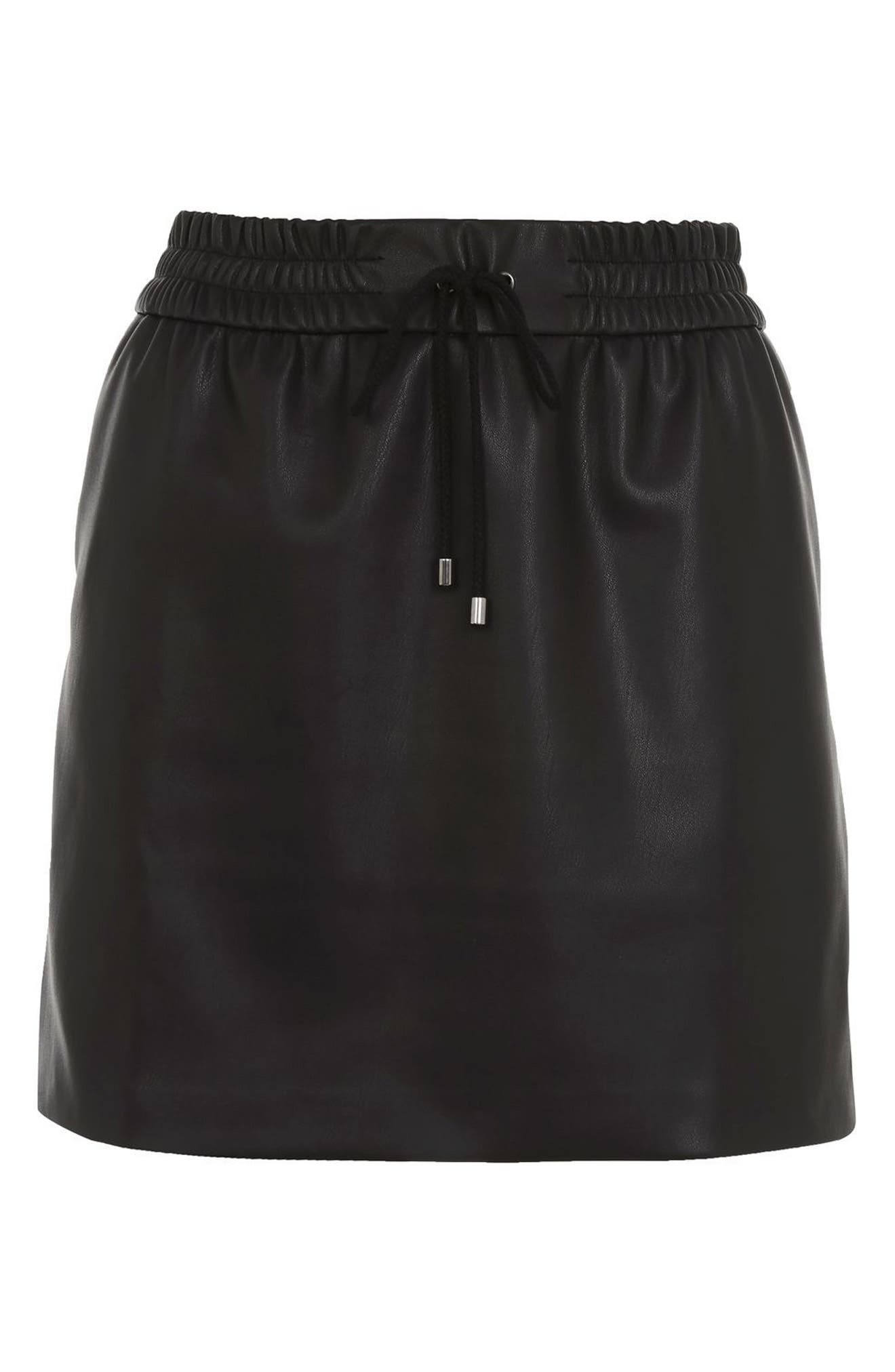 Alternate Image 4  - Topshop Drawstring Faux Leather Skirt