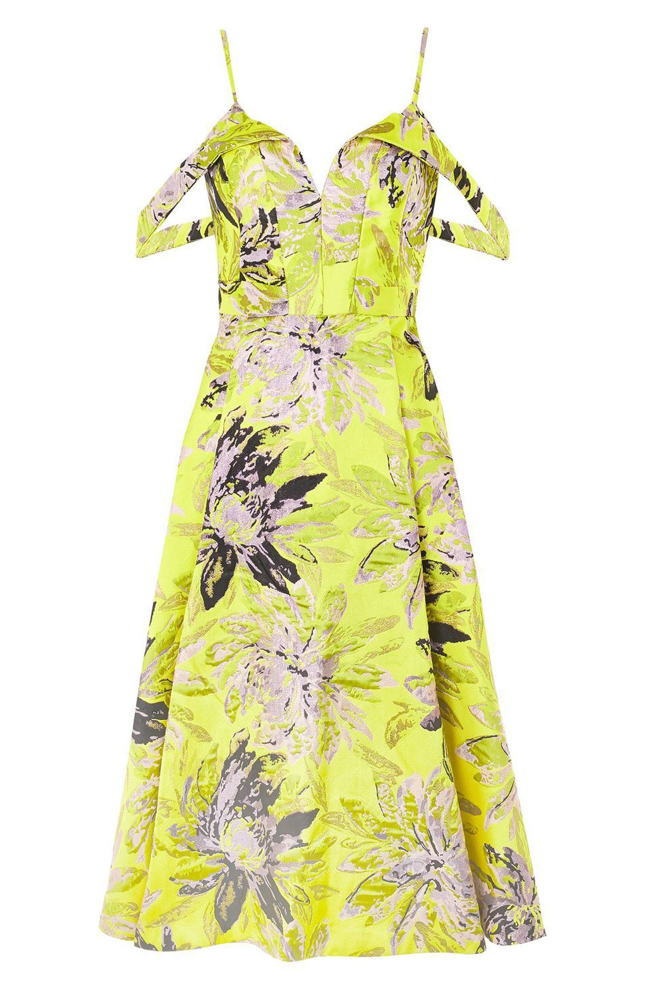 Alternate Image 5  - Topshop Floral Jacquard Midi Dress
