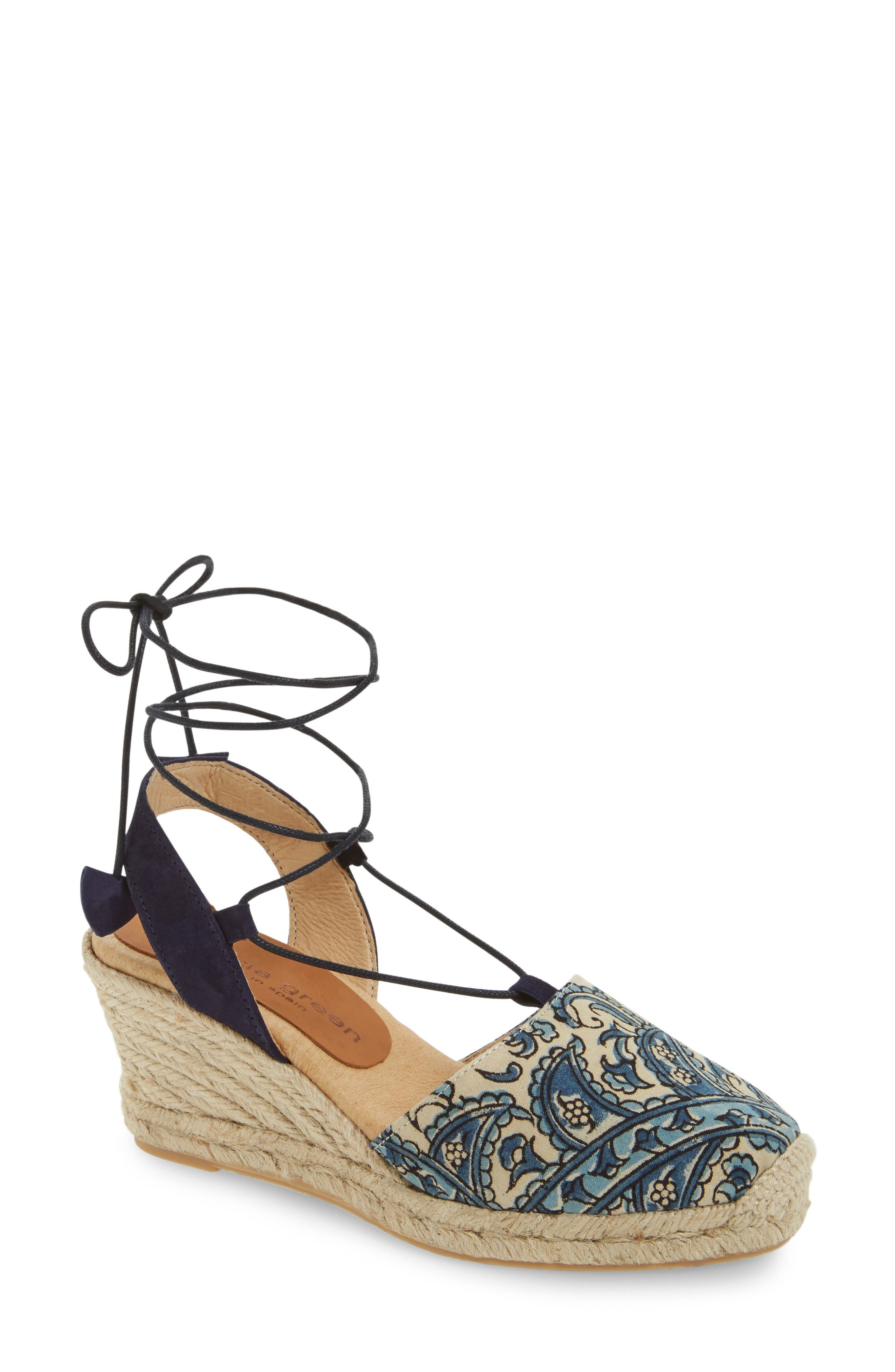 patricia green Ankle Wrap Espadrille Wedge (Women)