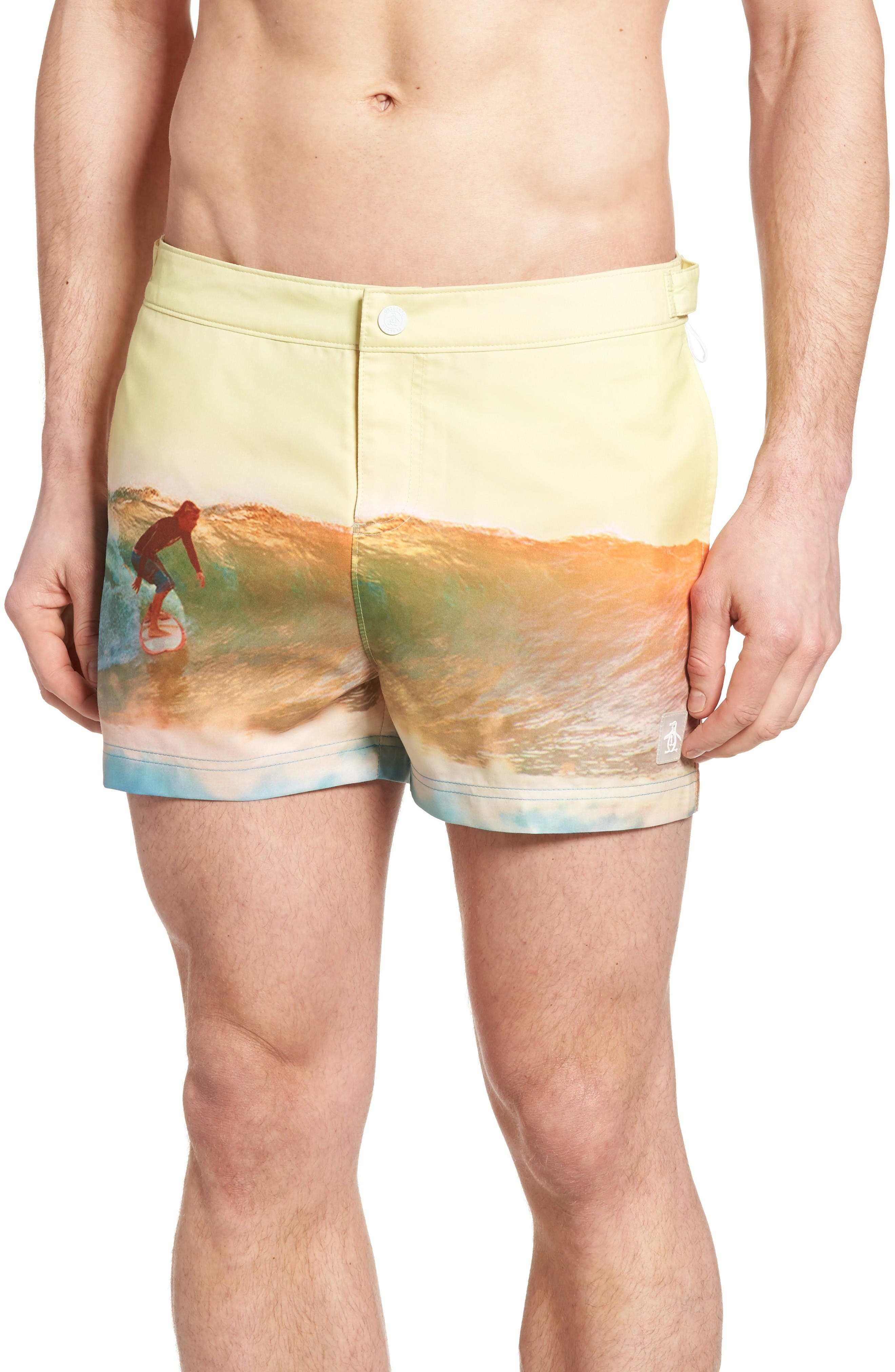 Original Penguin Surfer Print Fixed Waist Swim Trunks