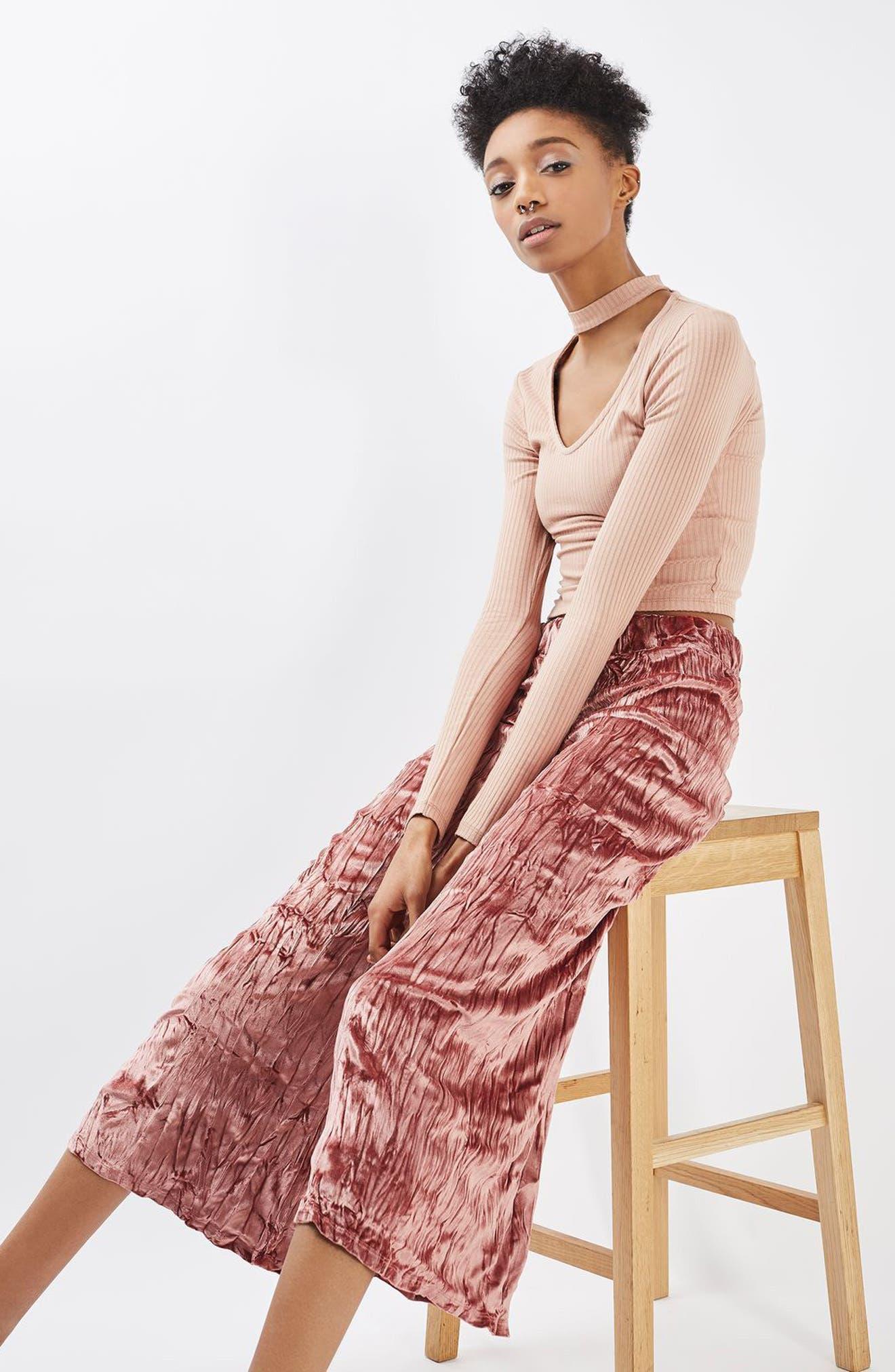 Alternate Image 2  - Topshop Crushed Velvet Trousers