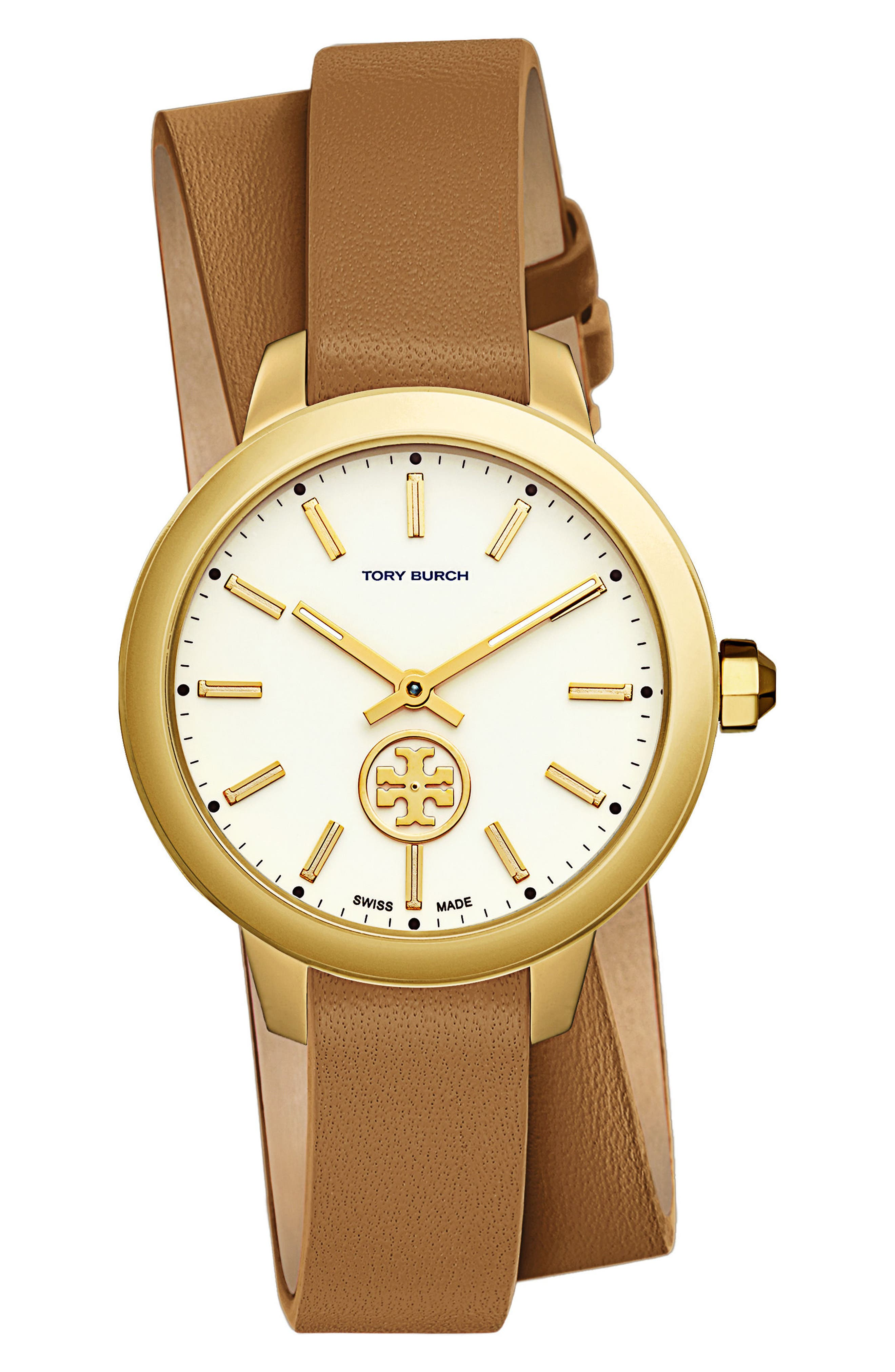 Main Image - Tory Burch Collins Double Wrap Leather Strap Watch, 38mm