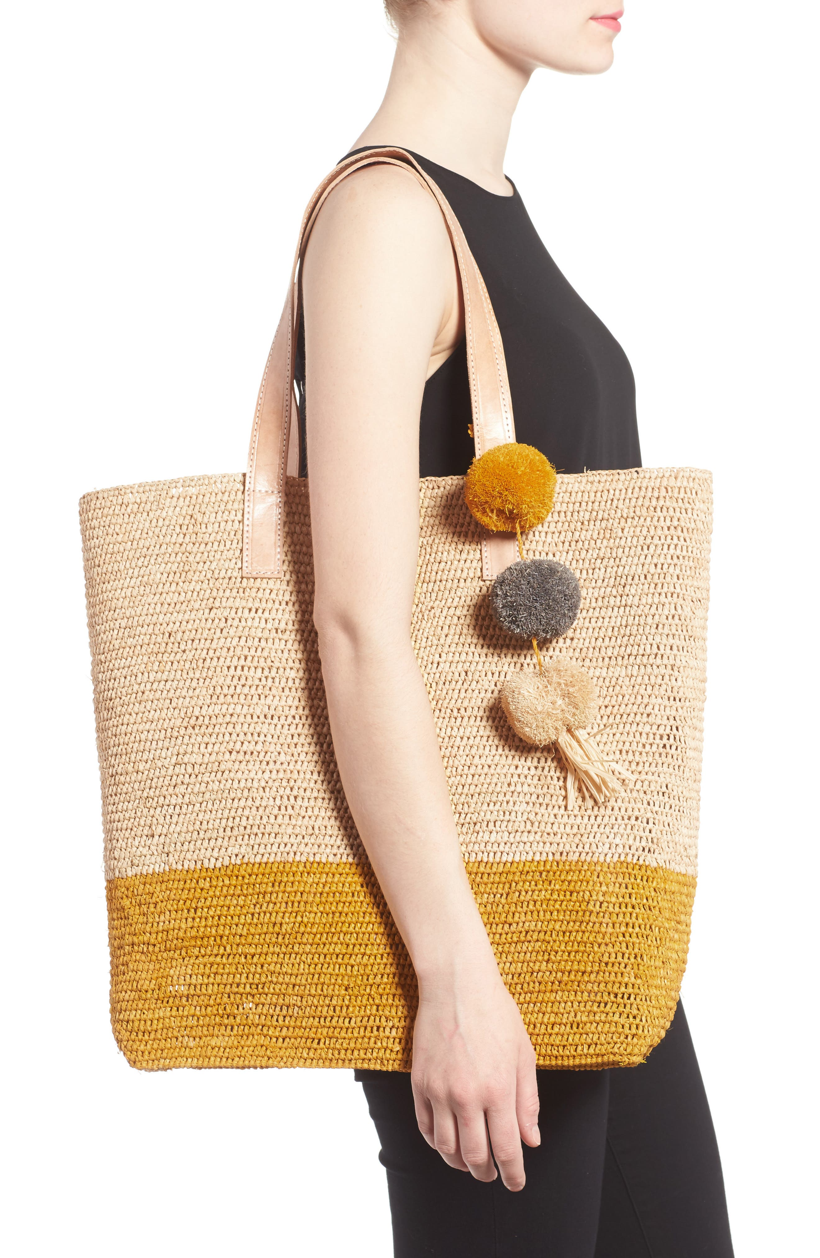 Alternate Image 2  - Mar y Sol Montauk Woven Tote with Pom Charms