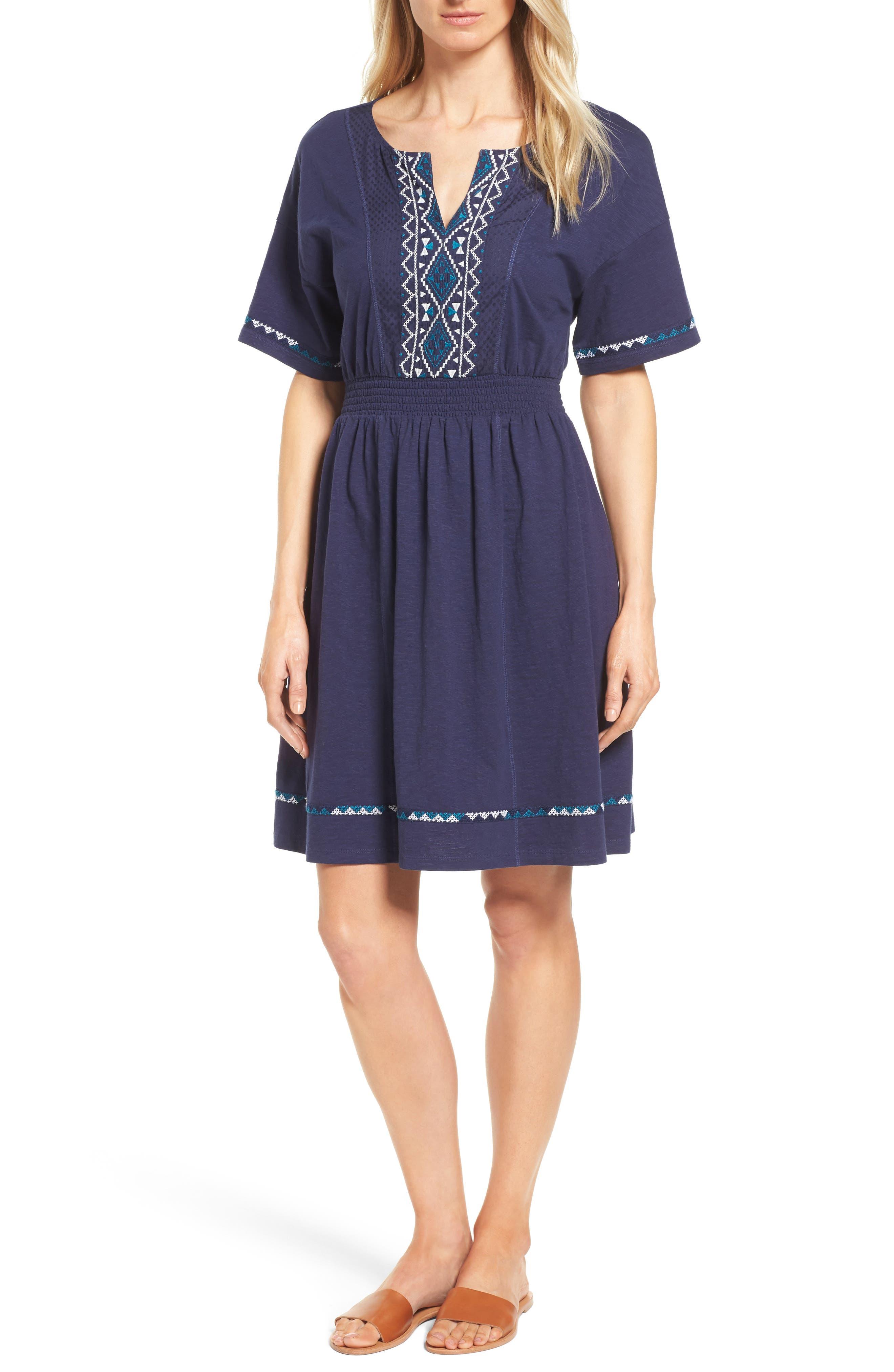 Caslon® Embroidered T-Shirt Dress (Regular & Petite)