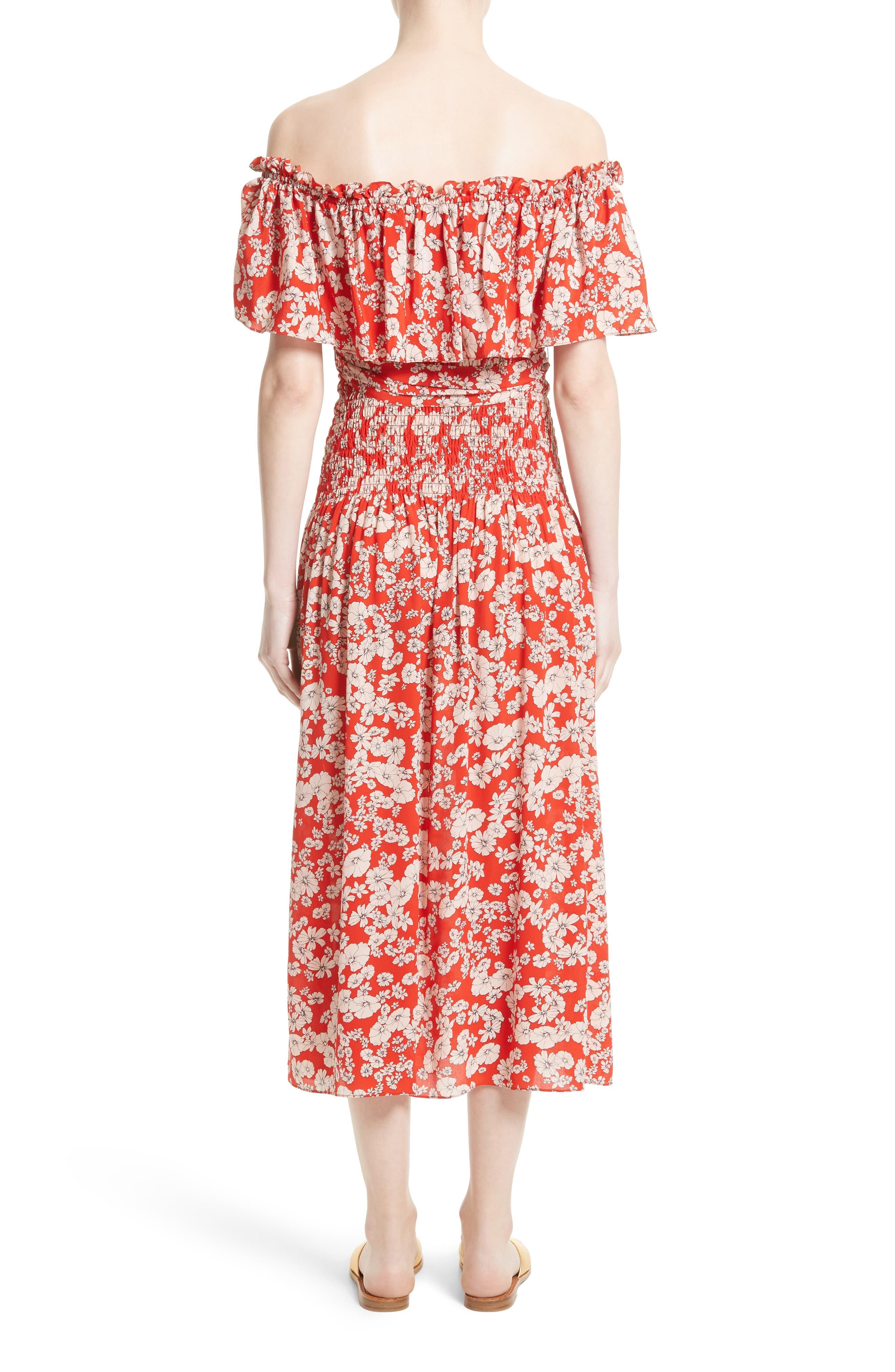Alternate Image 2  - Rebecca Taylor Cherry Blossom Silk Off the Shoulder Dress