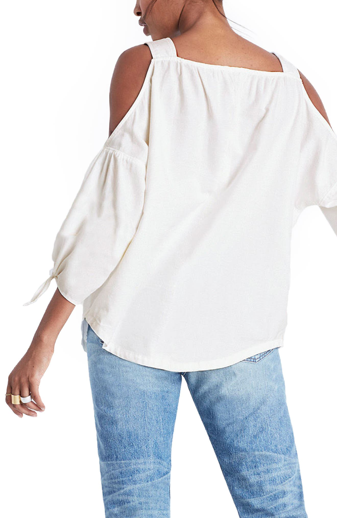 Alternate Image 2  - Madewell Cotton Cold Shoulder Blouse