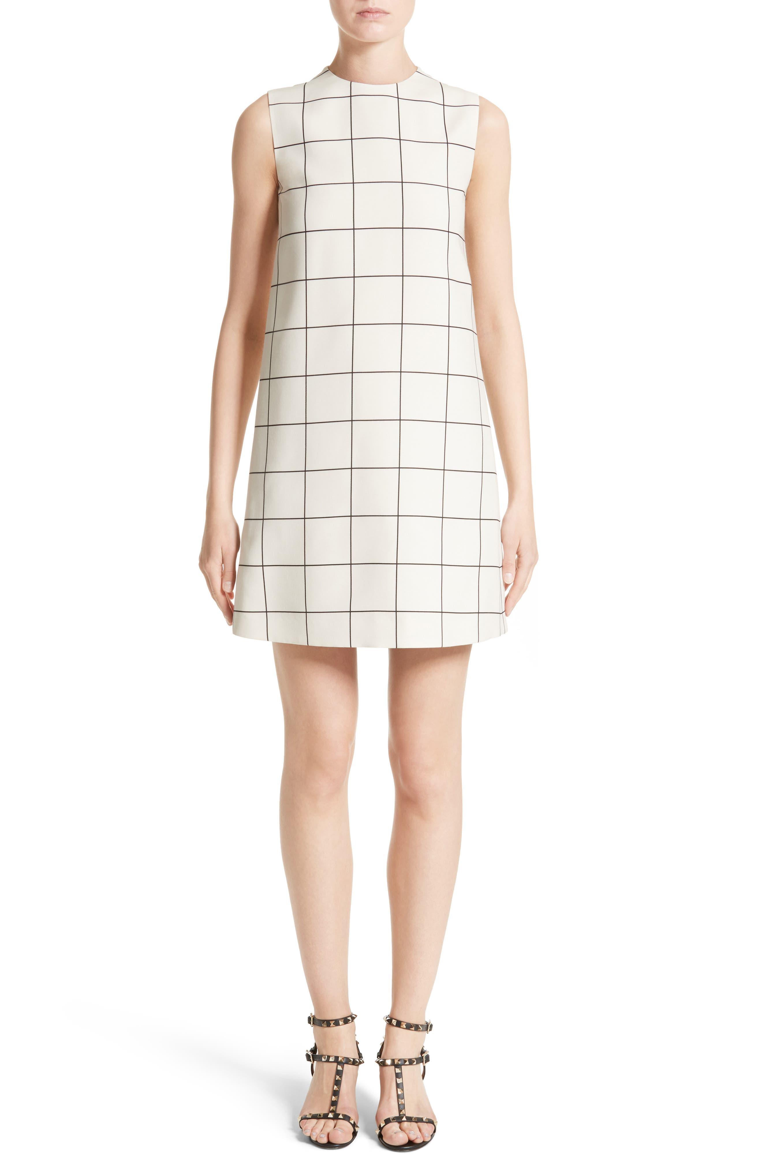 Valentino Windowpane Print Shift Dress