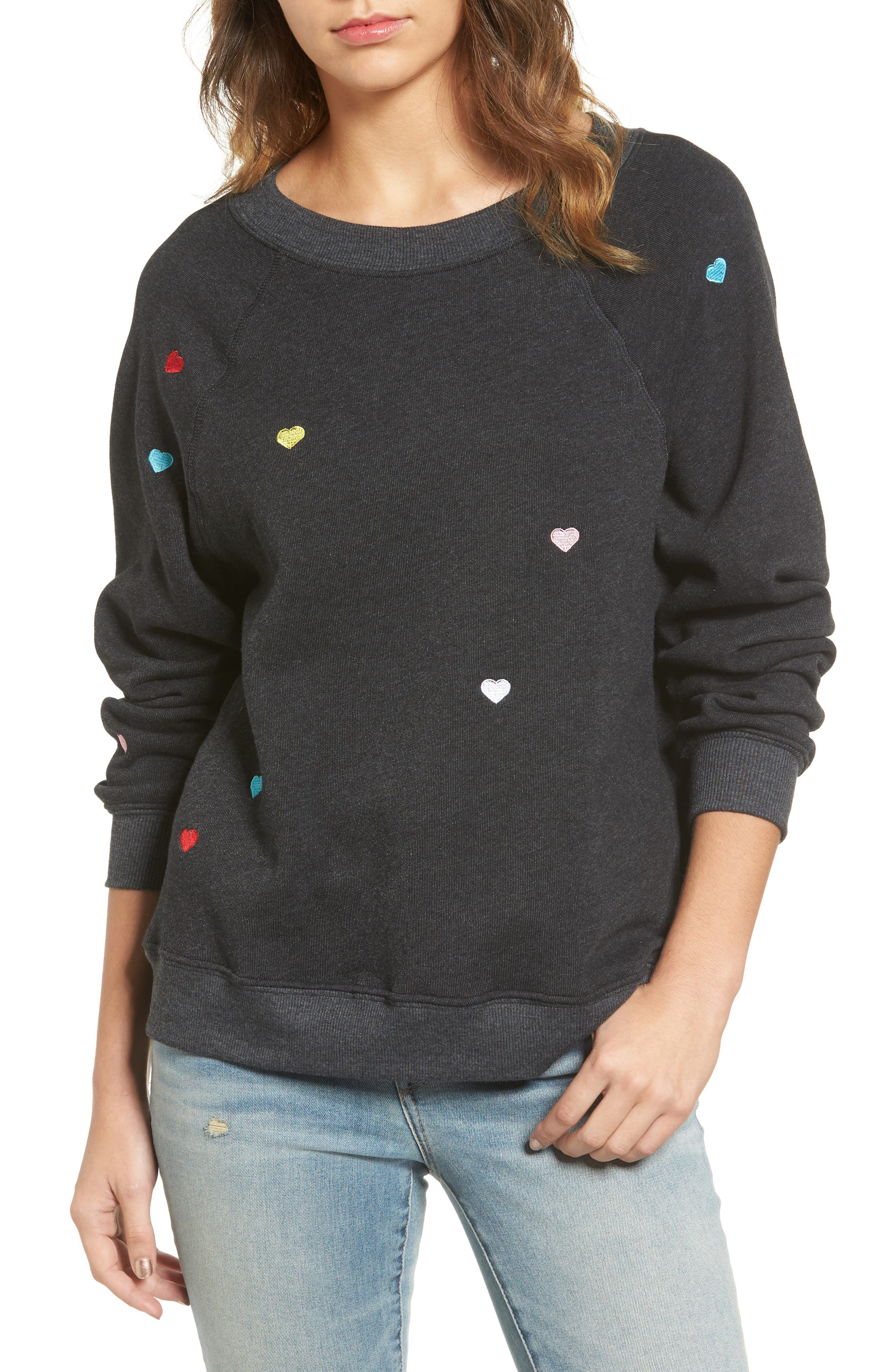 Main Image - Wildfox Sommers Sweater - Heart Embroidered Pullover