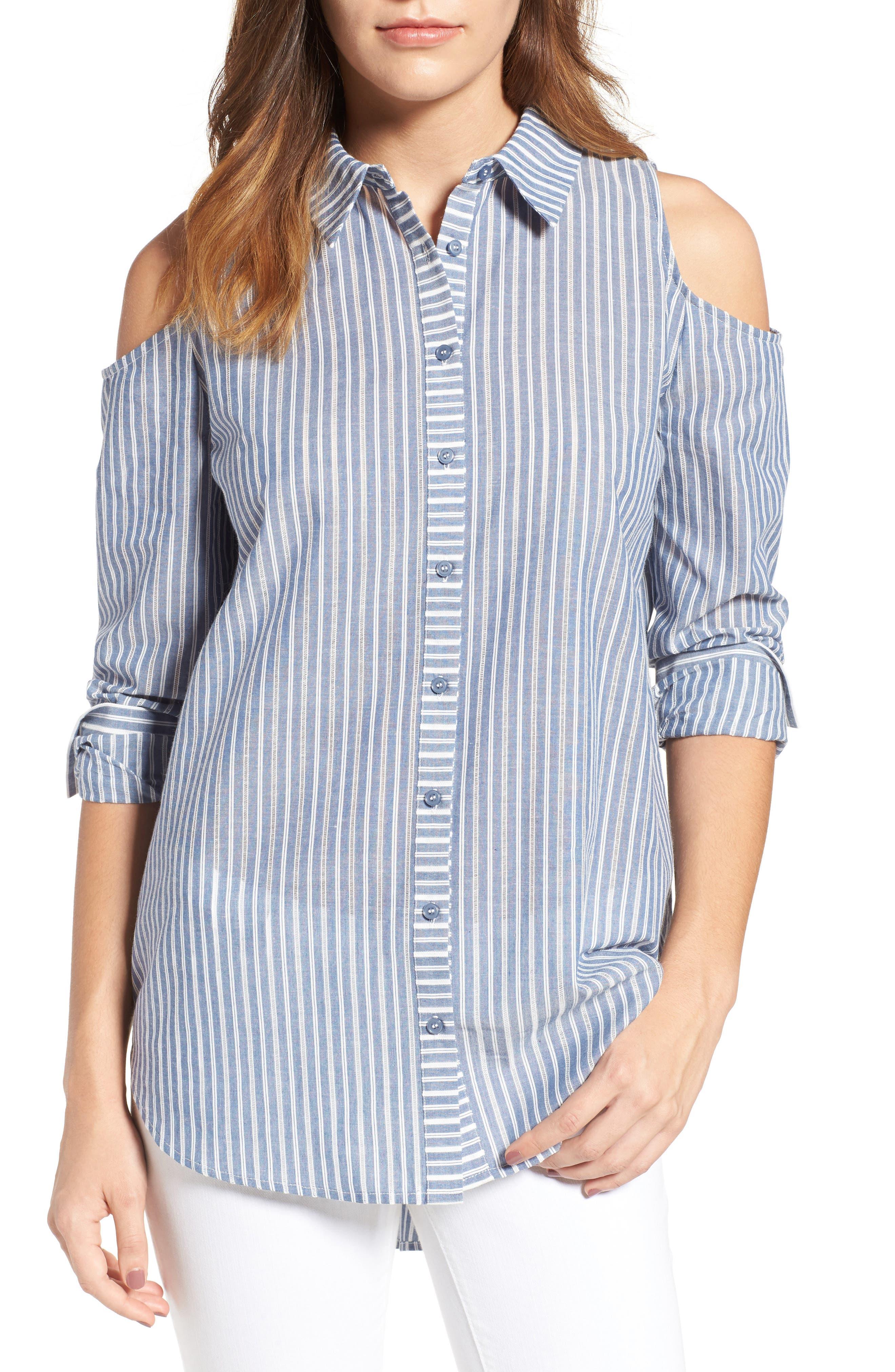 Alternate Image 1 Selected - Pleione Cold Shoulder Stripe Jacquard Shirt (Regular & Petite)
