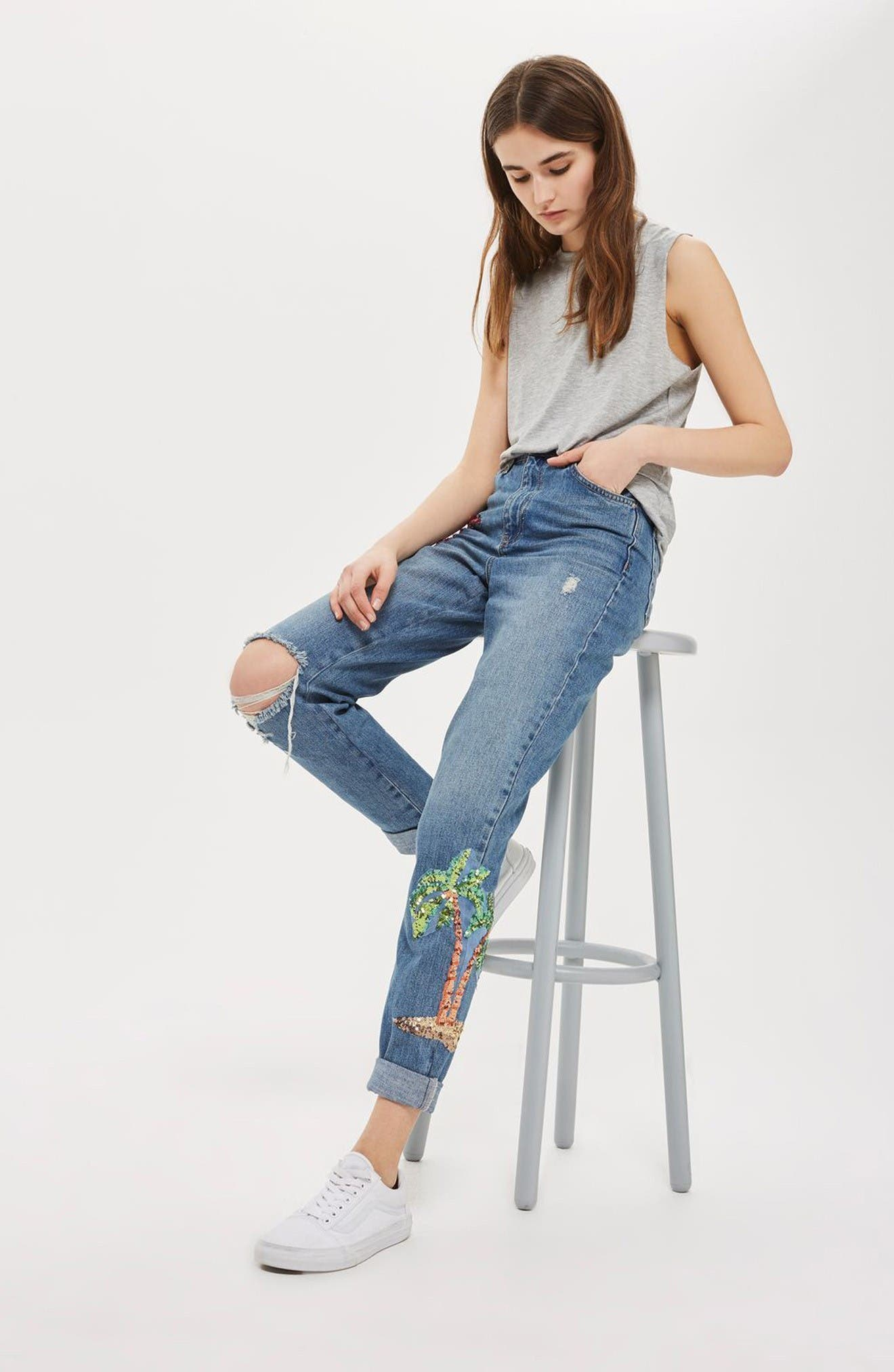 Alternate Image 2  - Topshop Distressed Sequin Mom Jeans (Tall)