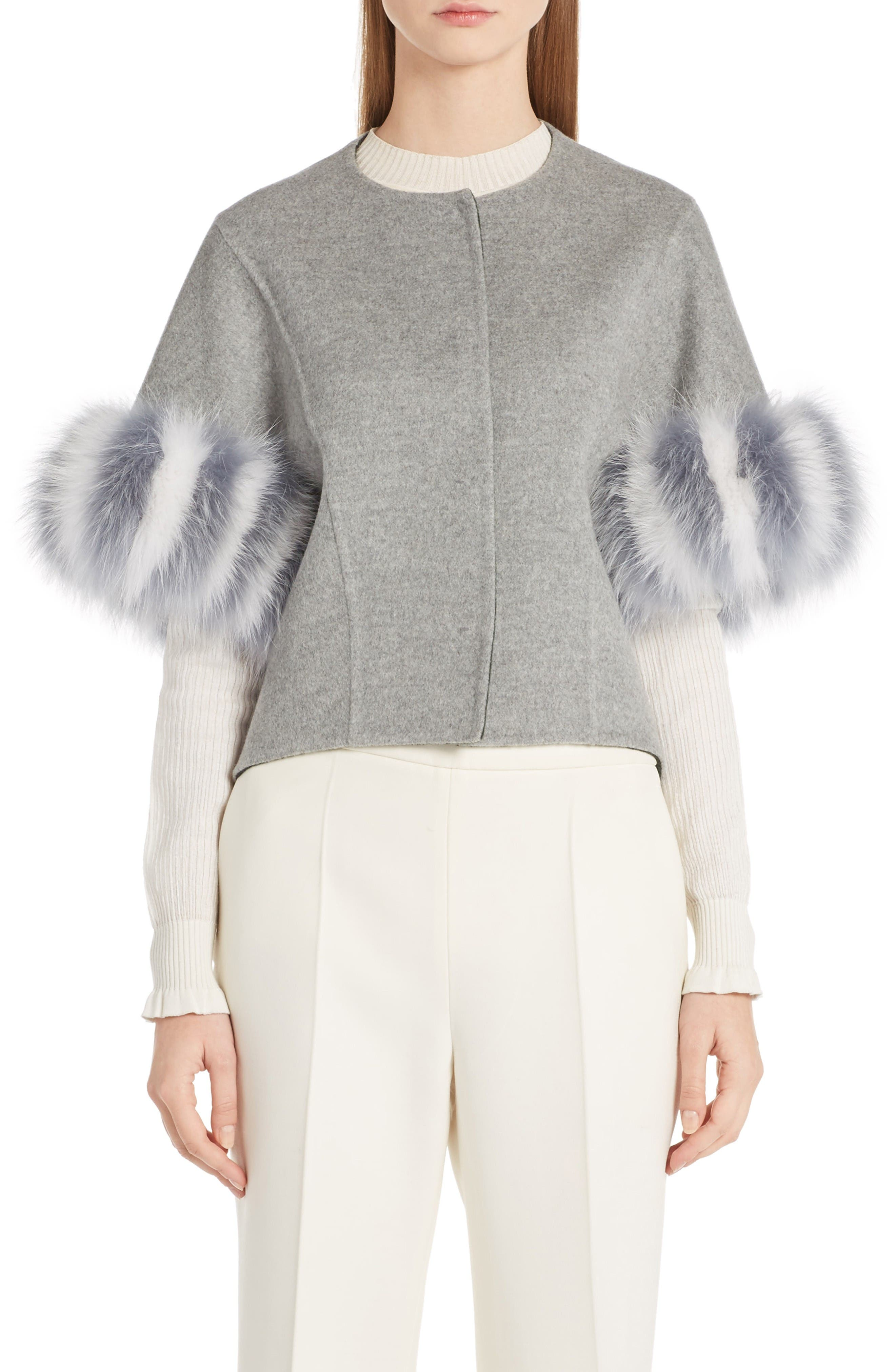 Fendi Cashmere & Genuine Fox Fur Jacket