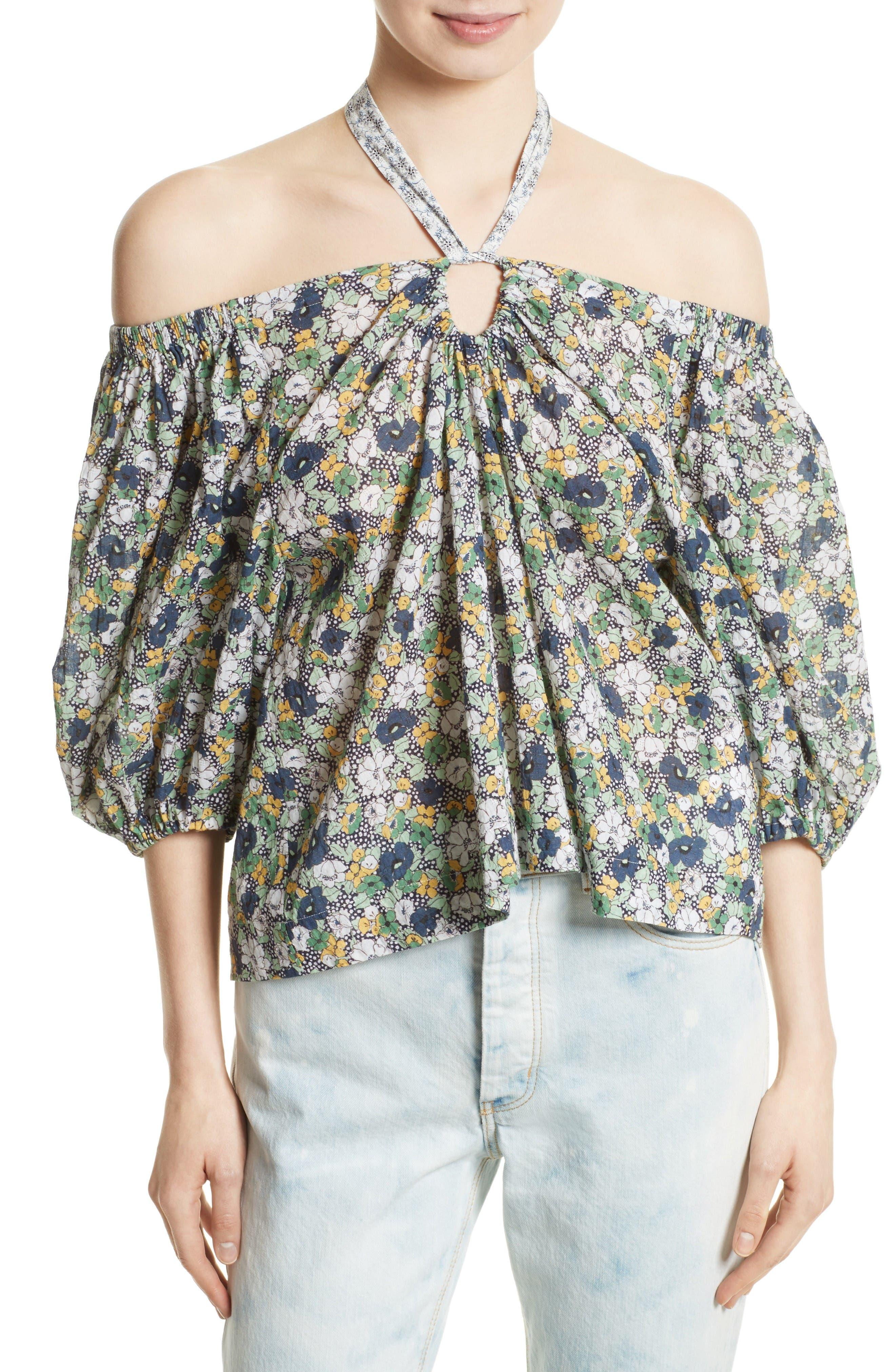 La Vie Rebecca Taylor Suzette Off the Shoulder Floral Top