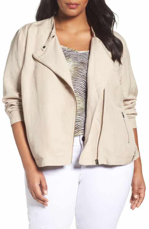 Sejour Linen Blend Moto Jacket (Plus Size)