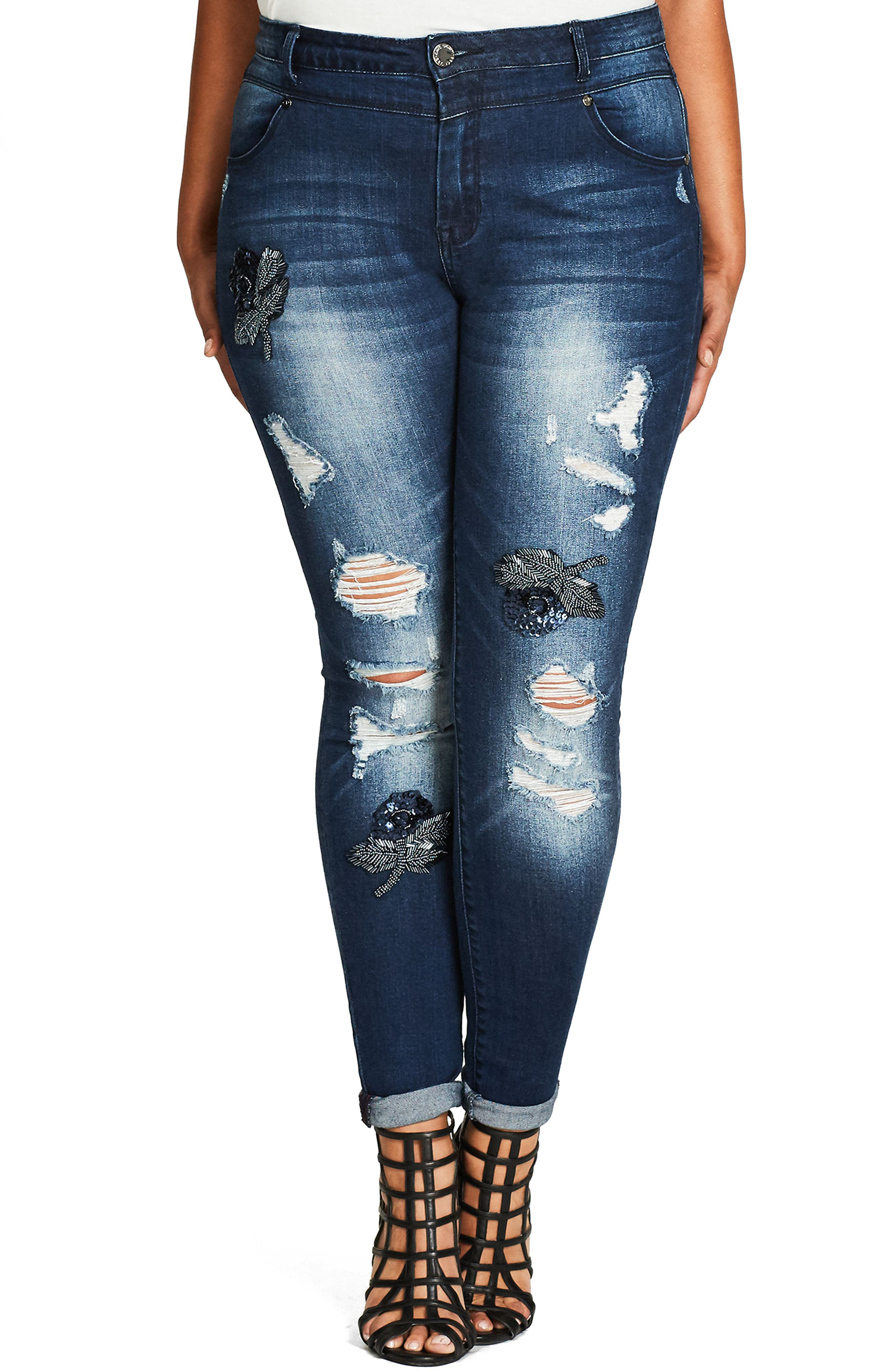 Alternate Image 1 Selected - City Chic Embellished Destroyed Skinny Jeans (Plus Size)