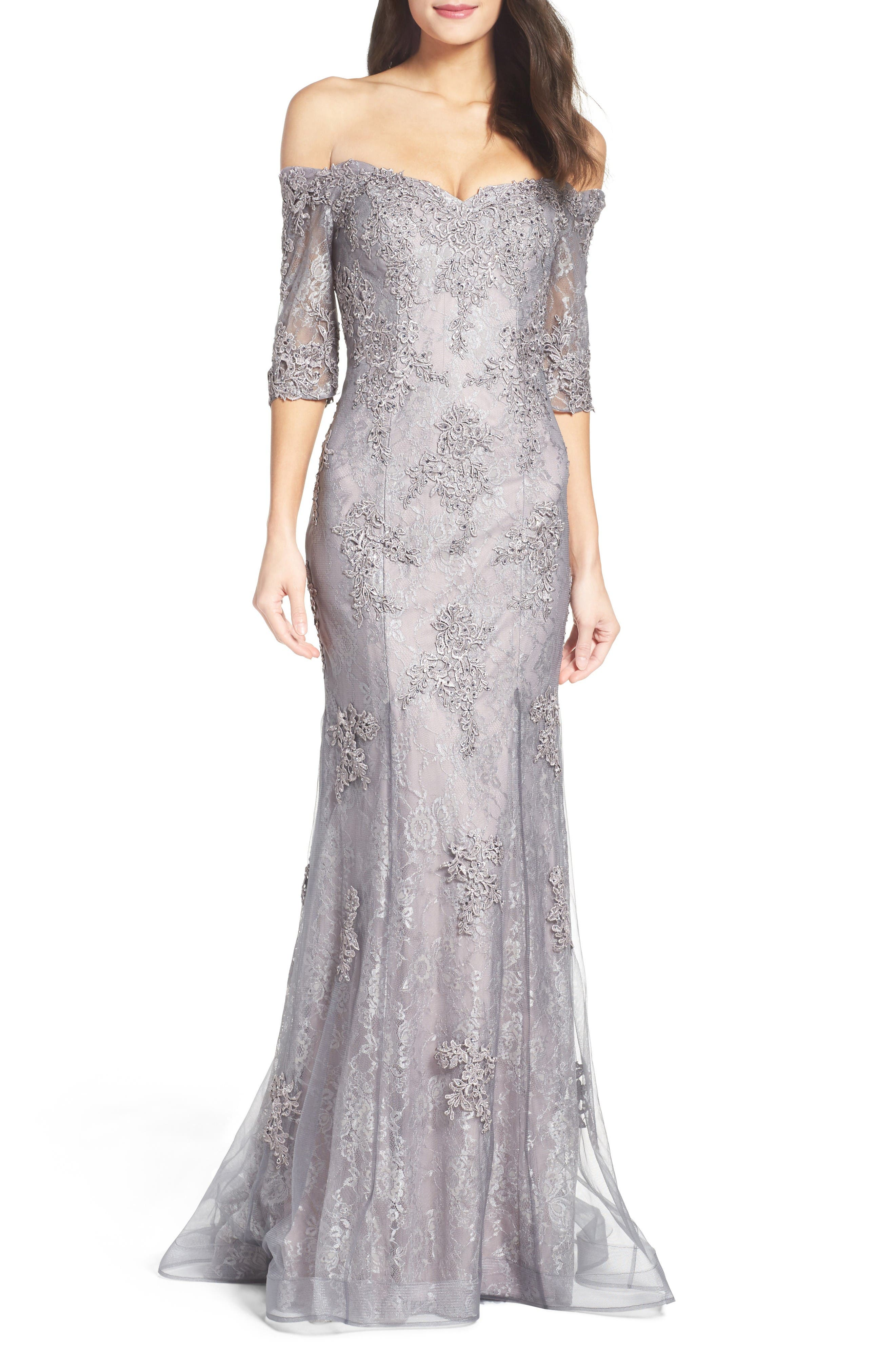 Main Image - La Femme Fit & Flare Gown with Train