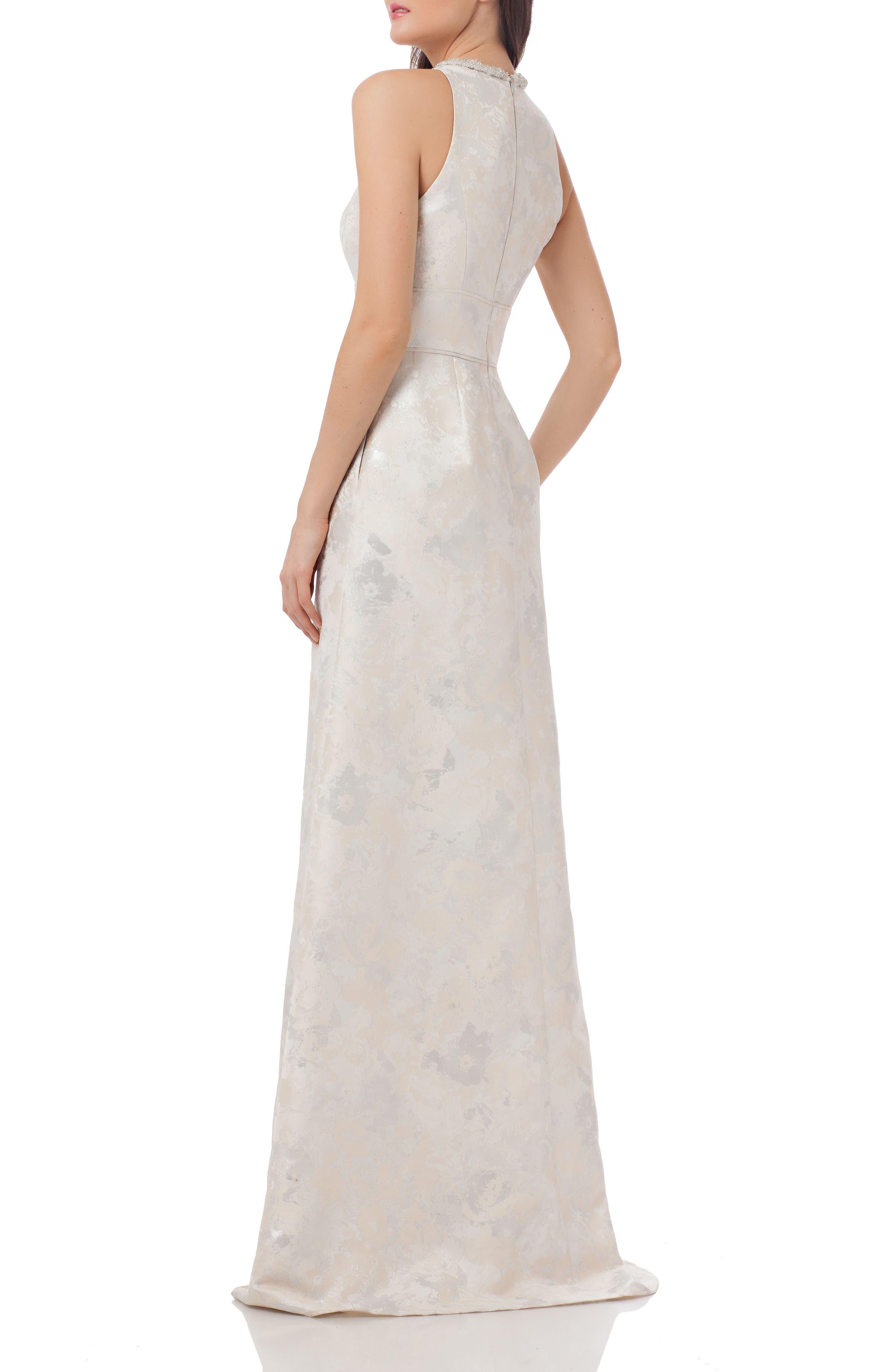 Alternate Image 2  - Carmen Marc Valvo Infusion Embellished Brocade Gown
