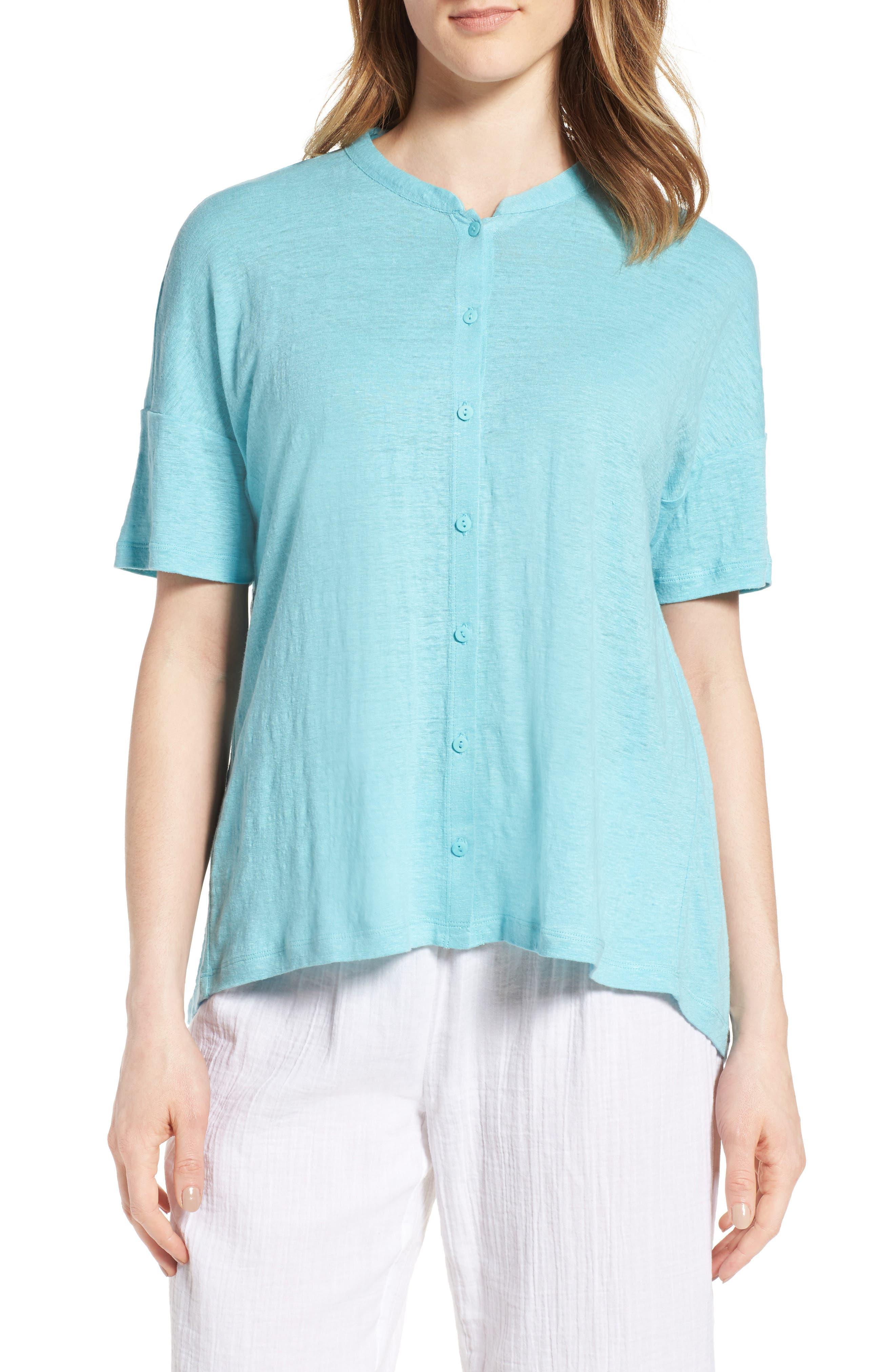 Eileen Fisher Mandarin Collar Organic Linen Knit Shirt