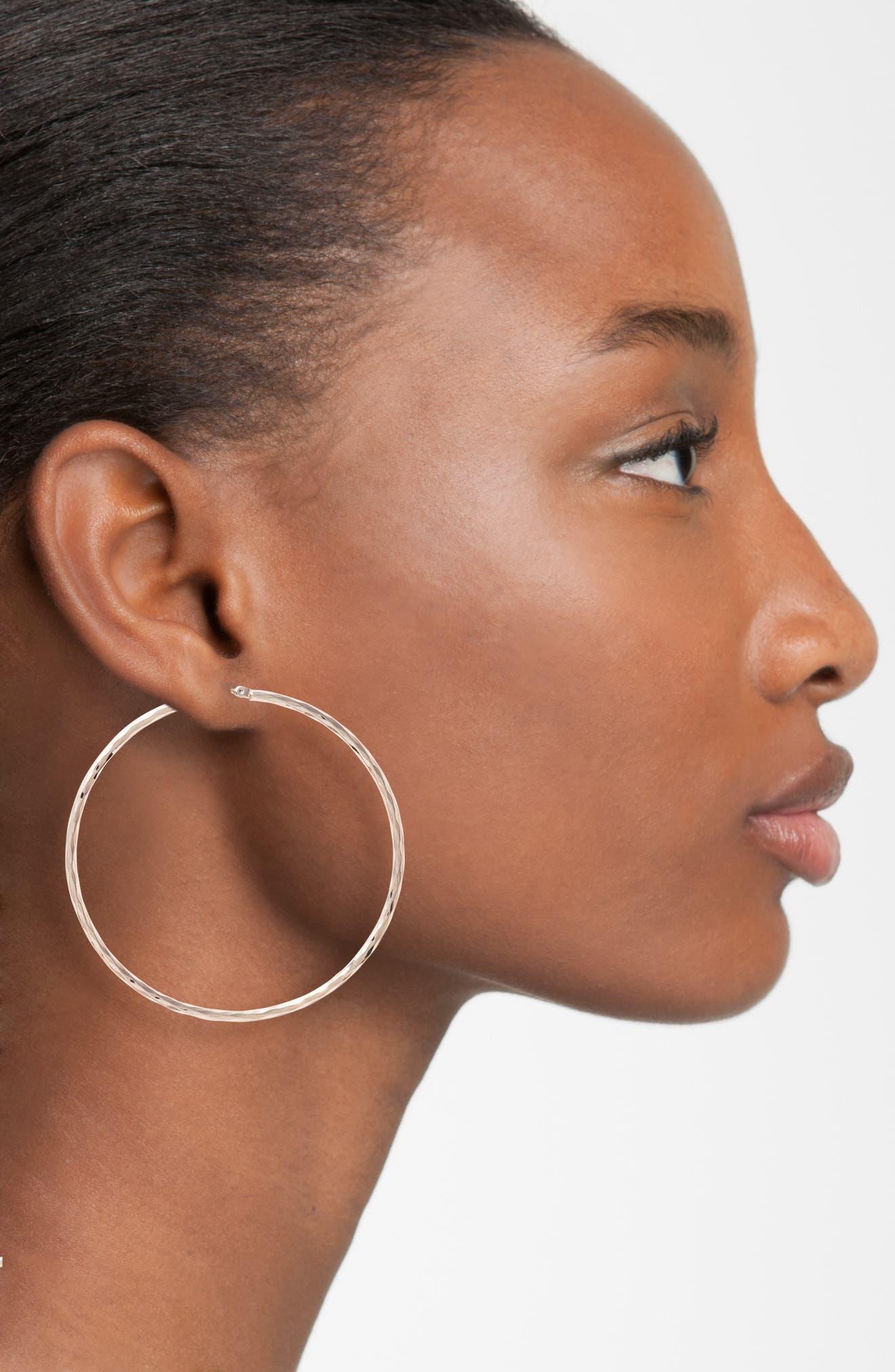 Alternate Image 2  - Nordstrom Hammered Hoop Earrings