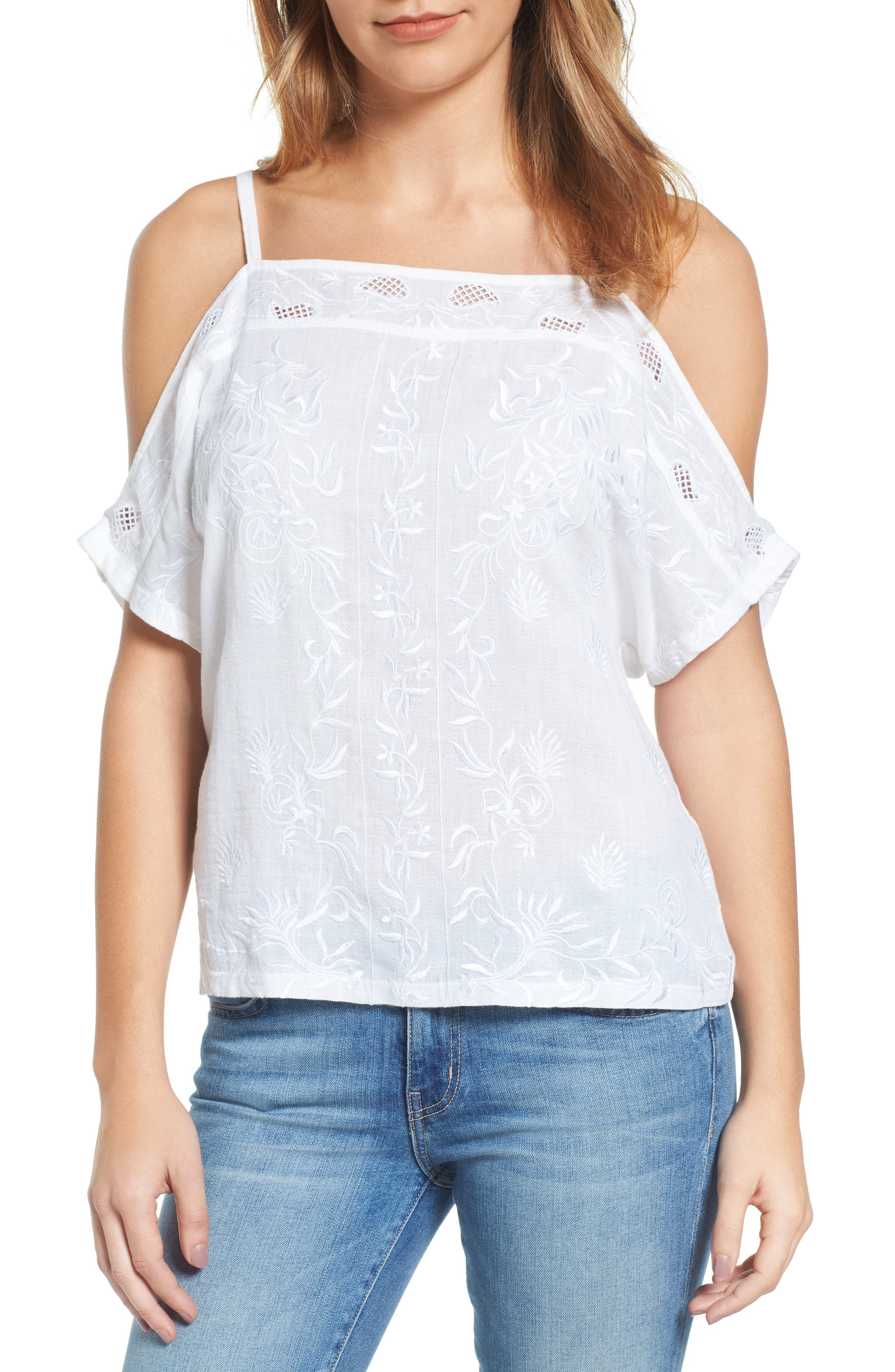 Lucky Brand Embroidered Off the Shoulder Top