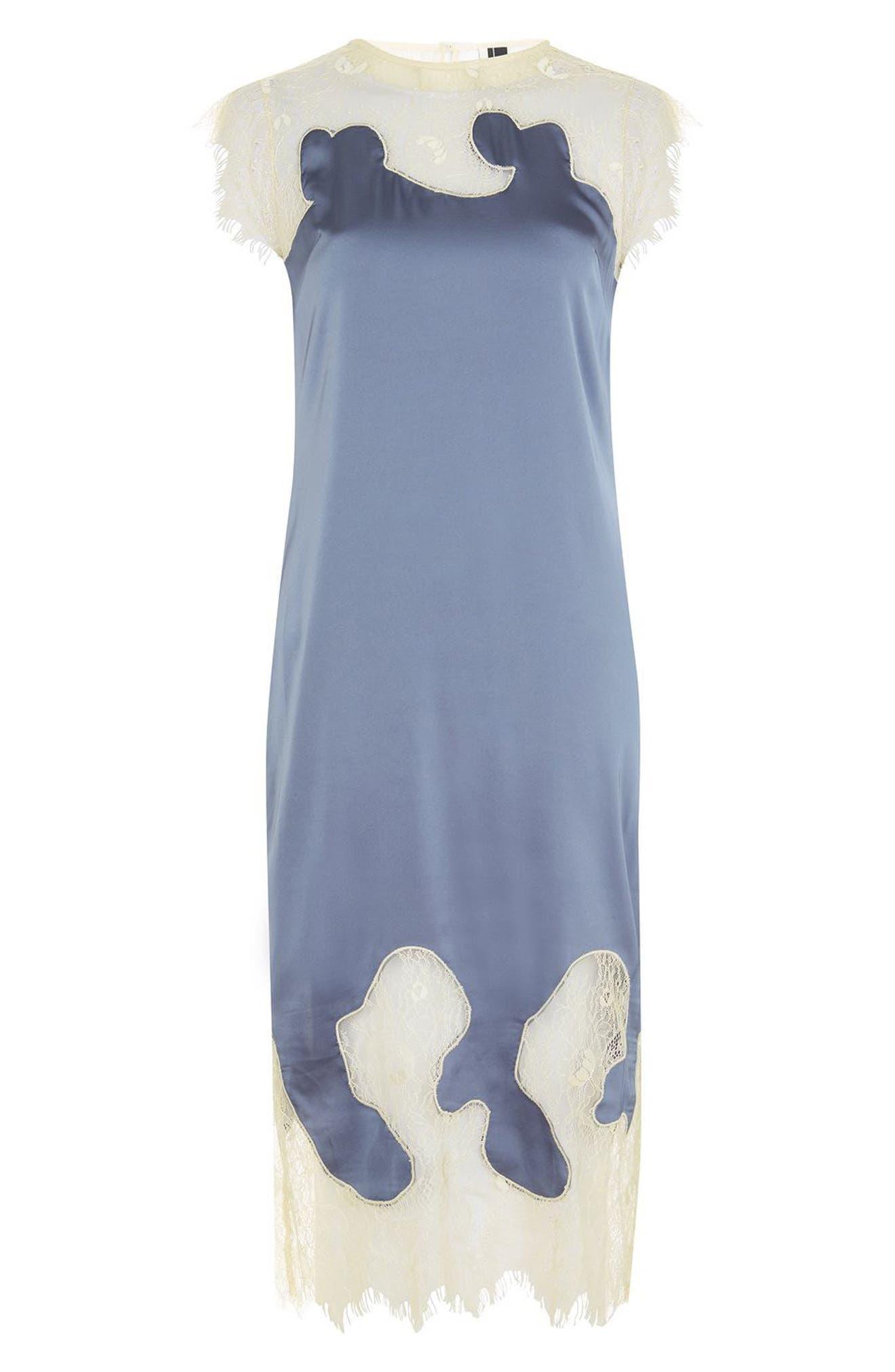 Alternate Image 3  - Topshop Satin & Lace Midi Dress