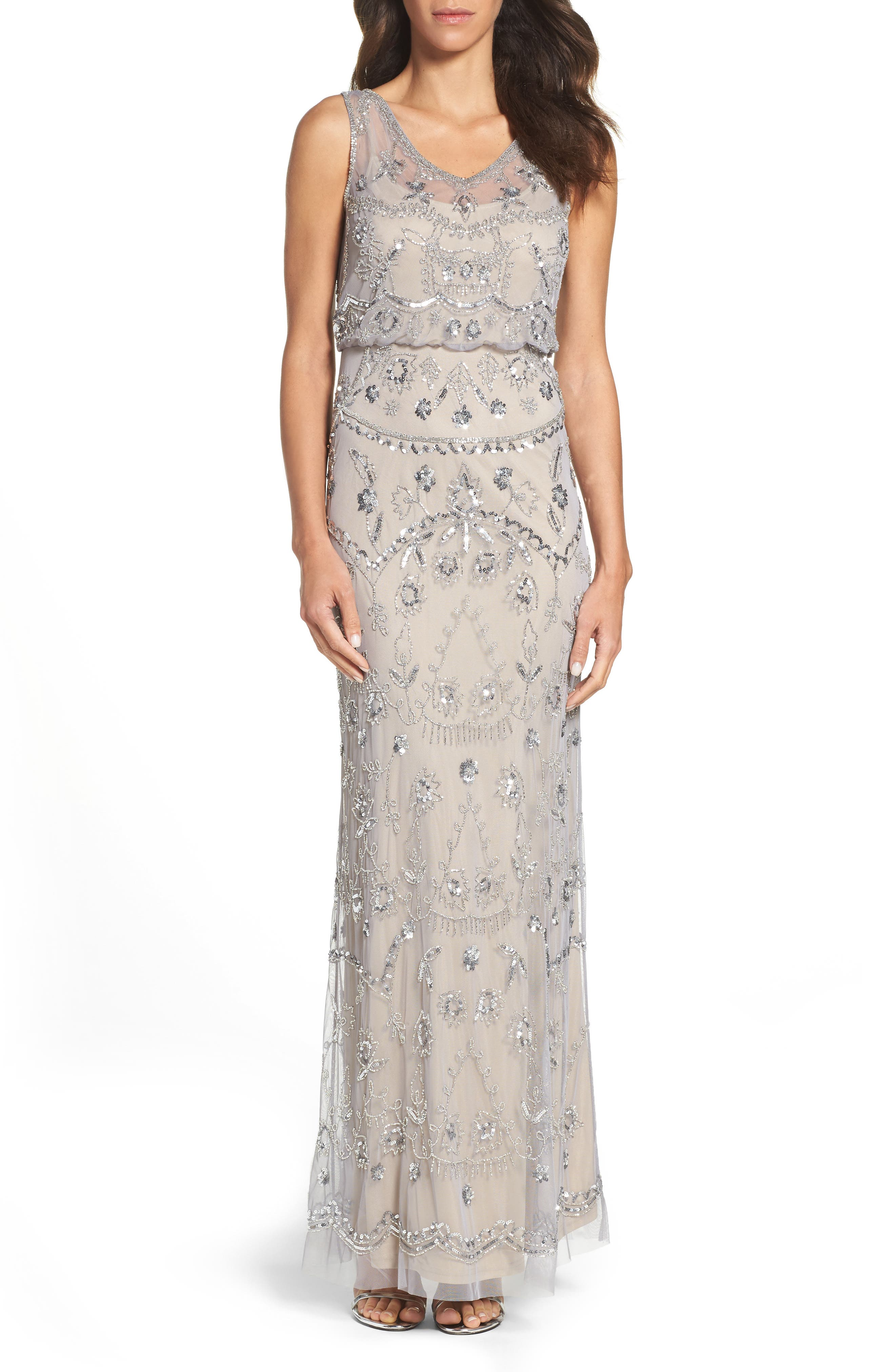 Adrianna Pappell Beaded Mesh Blouson Gown