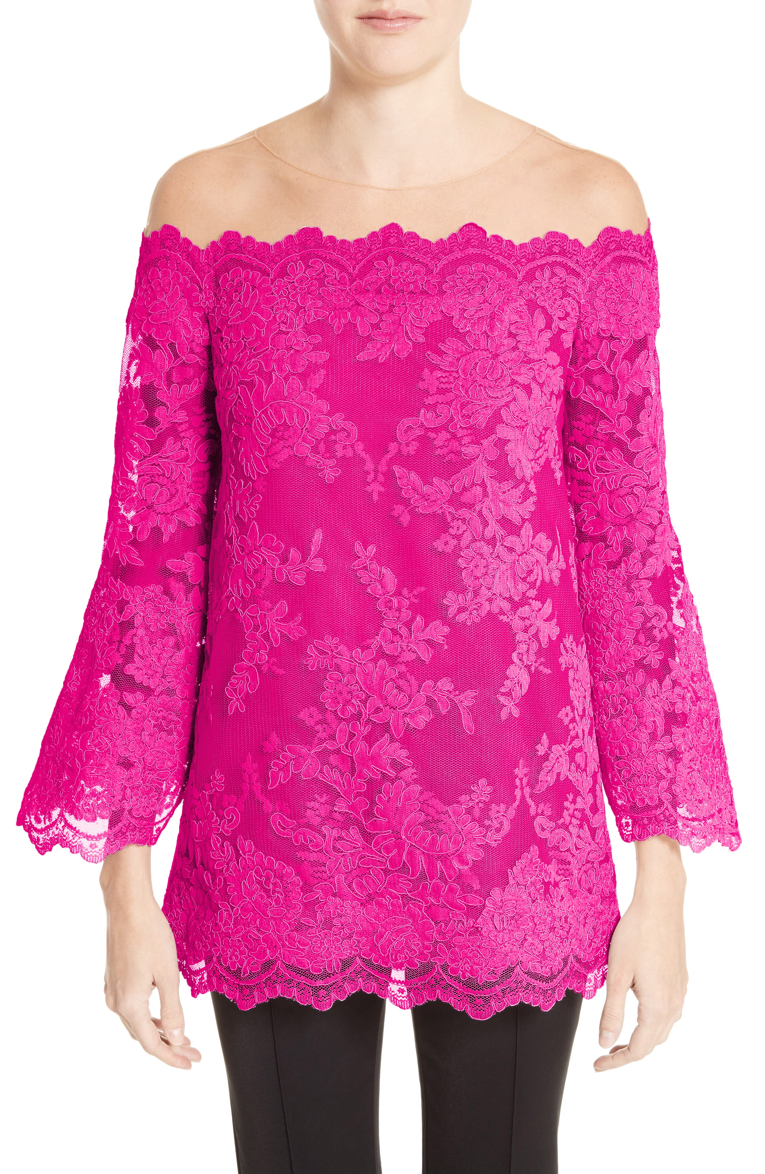Marchesa Off The Shoulder Illusion Lace Top