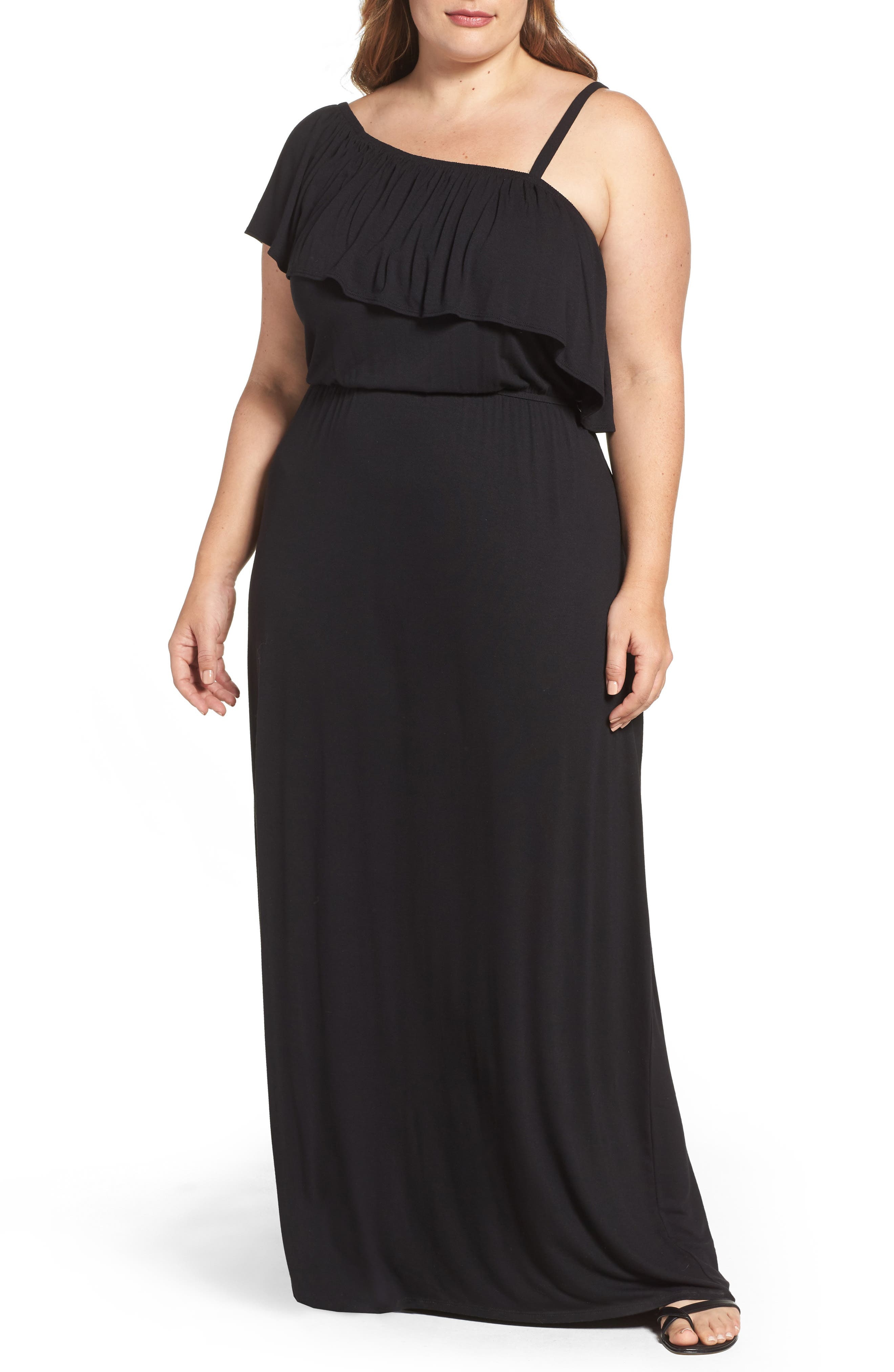 Bobeau Ruffle One Shoulder Maxi Dress (Plus Size)